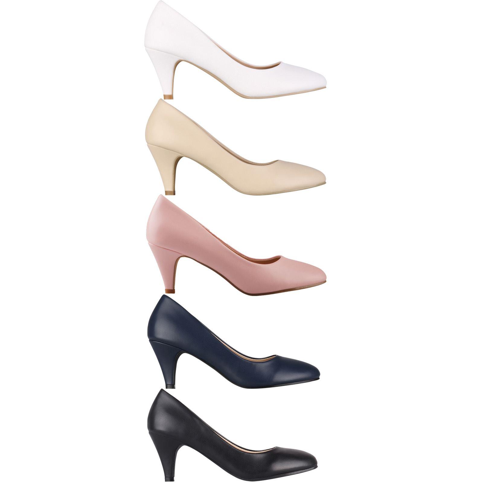 96cf8a3c61 Details about Women Low Mid Kitten Heels Slip On Court Shoes Ladies Pumps  Work Office Size 3-8