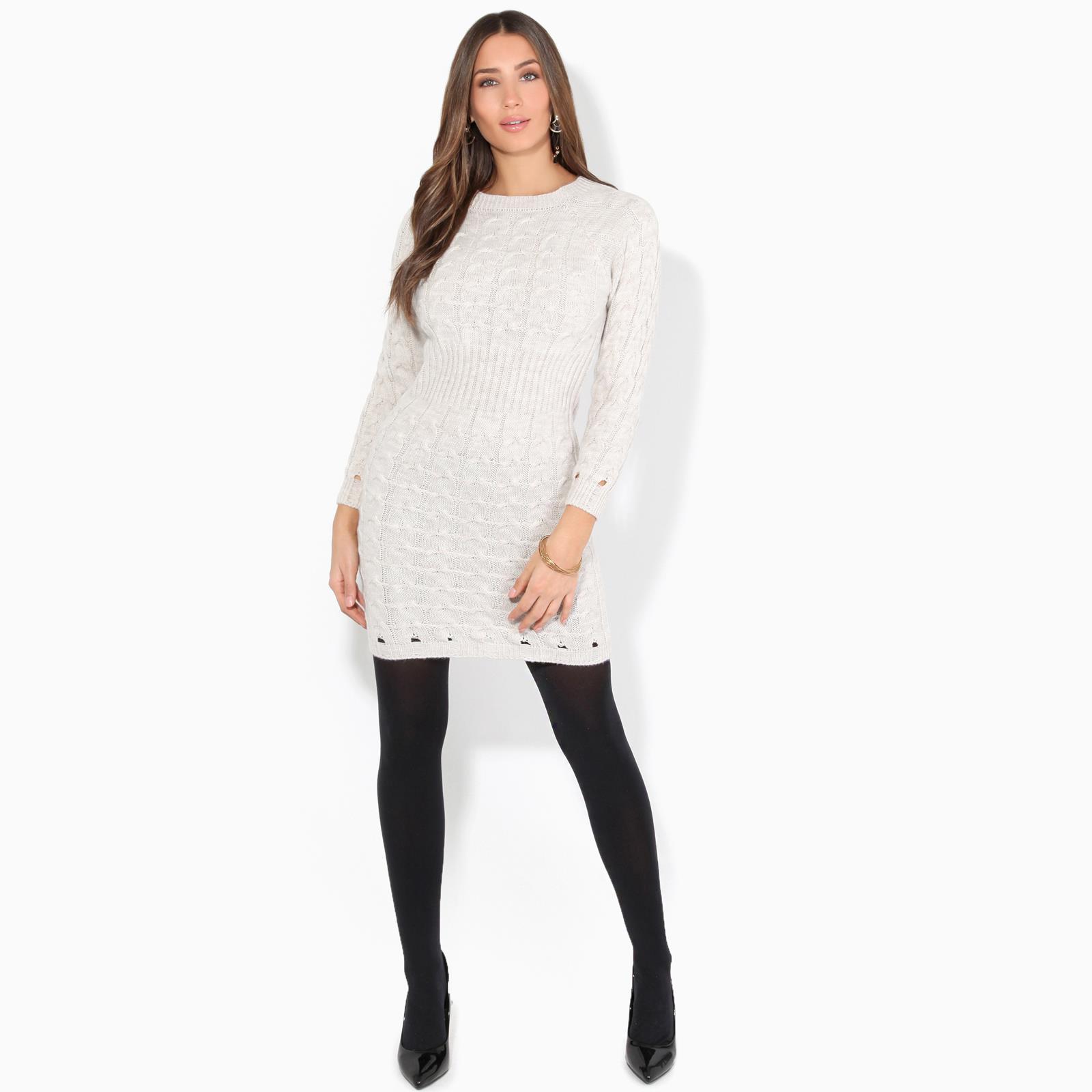 Womens-Ladies-Jumper-Dress-Longsleeve-Mini-Warm-Winter-Knit-Top-Bodycon thumbnail 3