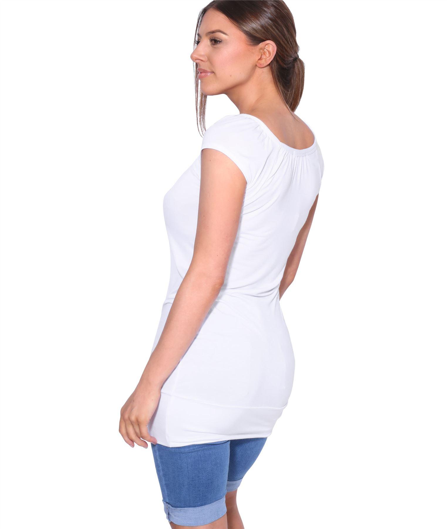 Womens-Ladies-Scoop-Neck-Blouse-V-T-Shirt-Long-Short-Sleeve-Plain-Loose-Top thumbnail 53