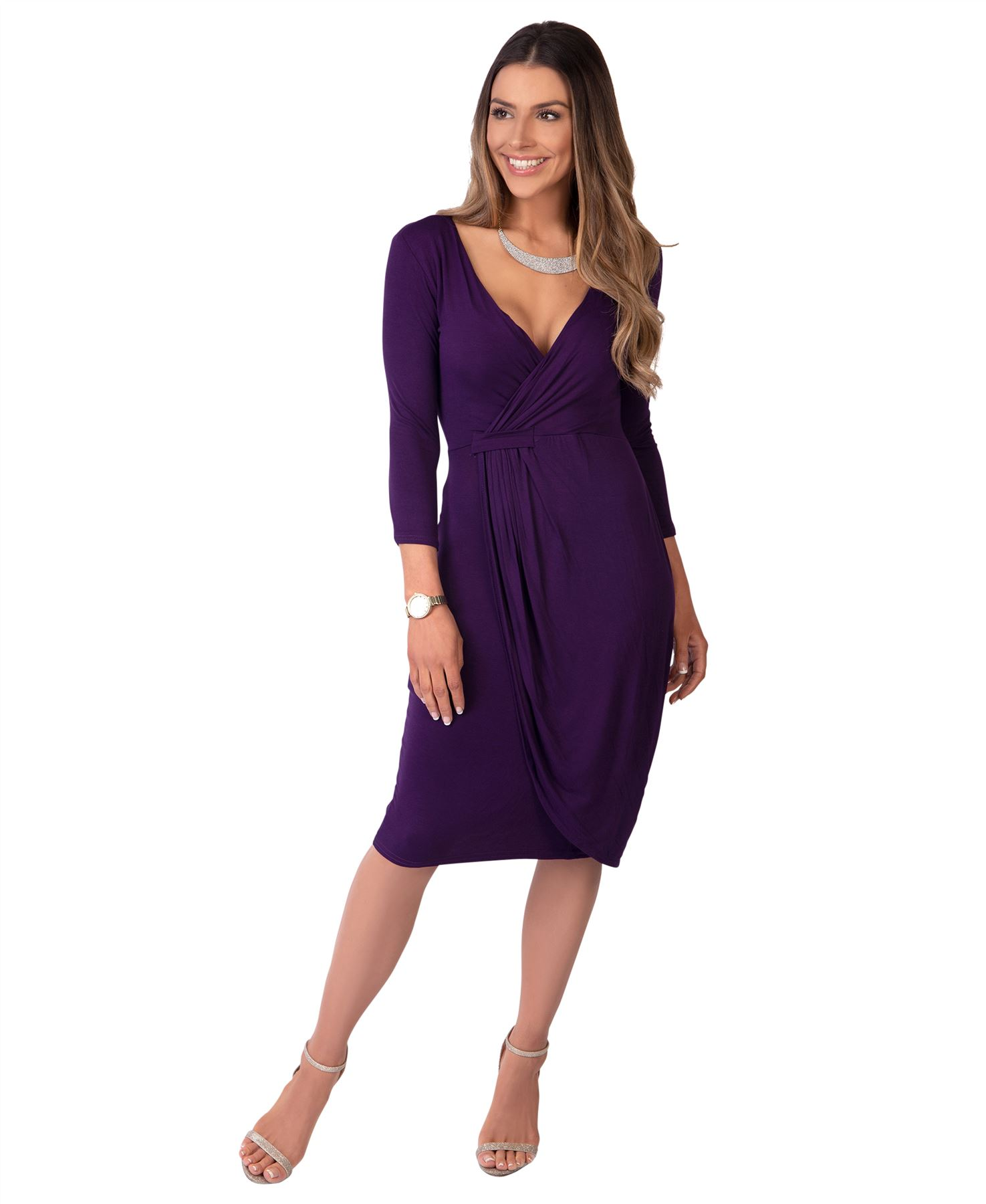 Womens-Ladies-Shift-Wrap-Dress-Midi-Knee-Long-Quarter-Sleeve-Sexy-Solid-Party thumbnail 21