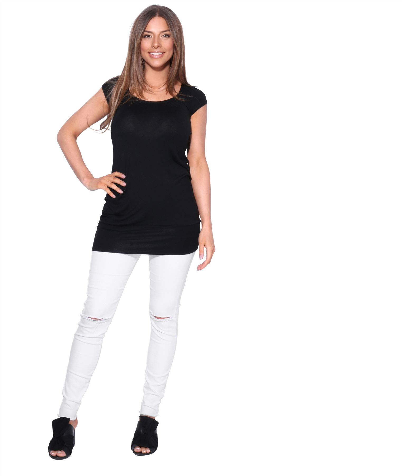 Womens-Ladies-Plain-T-Shirt-Short-Sleeve-Long-Loose-V-Neck-Blouse-Tunic-Top thumbnail 8