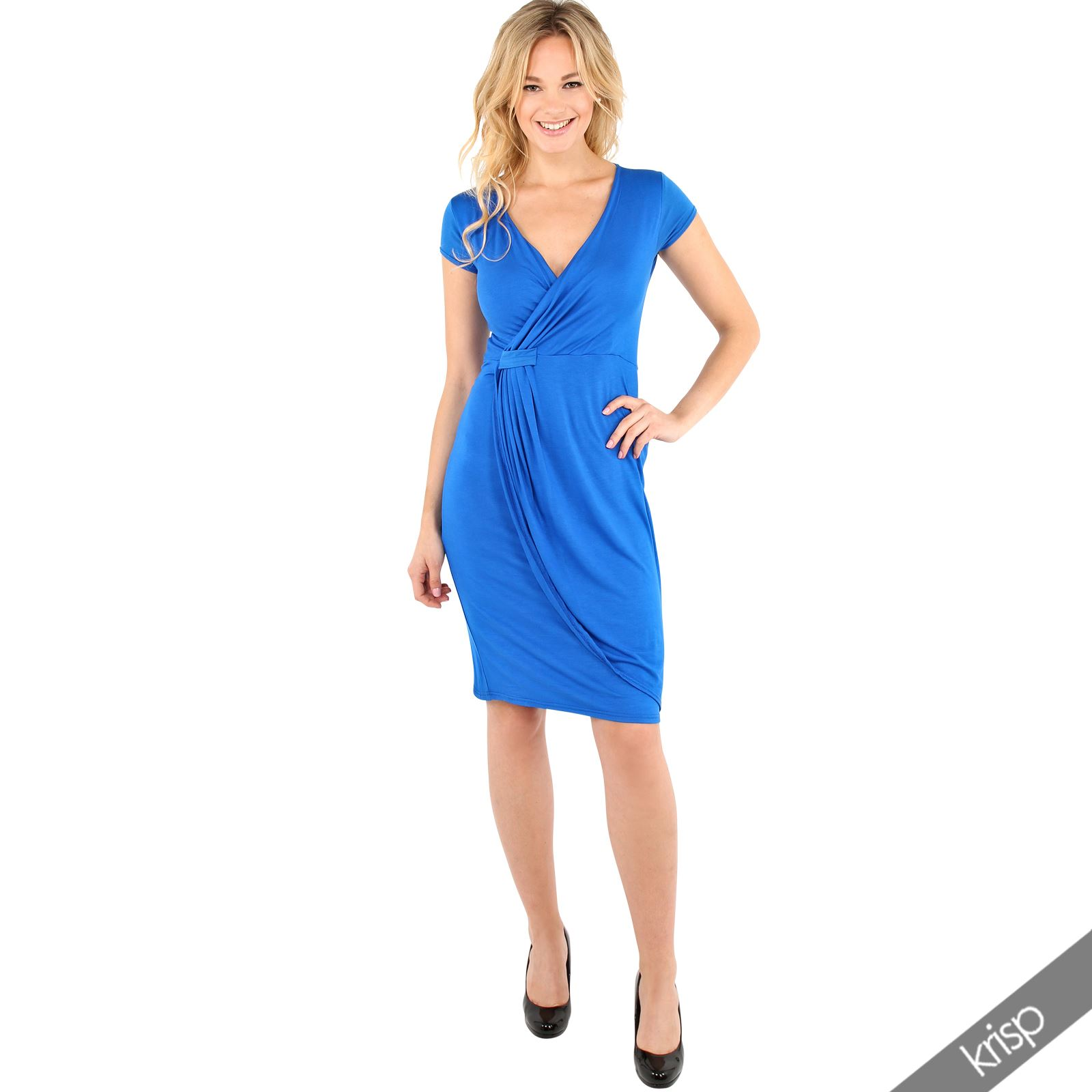 Womens-Ladies-V-Neck-Wrap-Midi-Dress-Front-Pleated-Skirt-Top-Cap-Sleeve-Party thumbnail 27