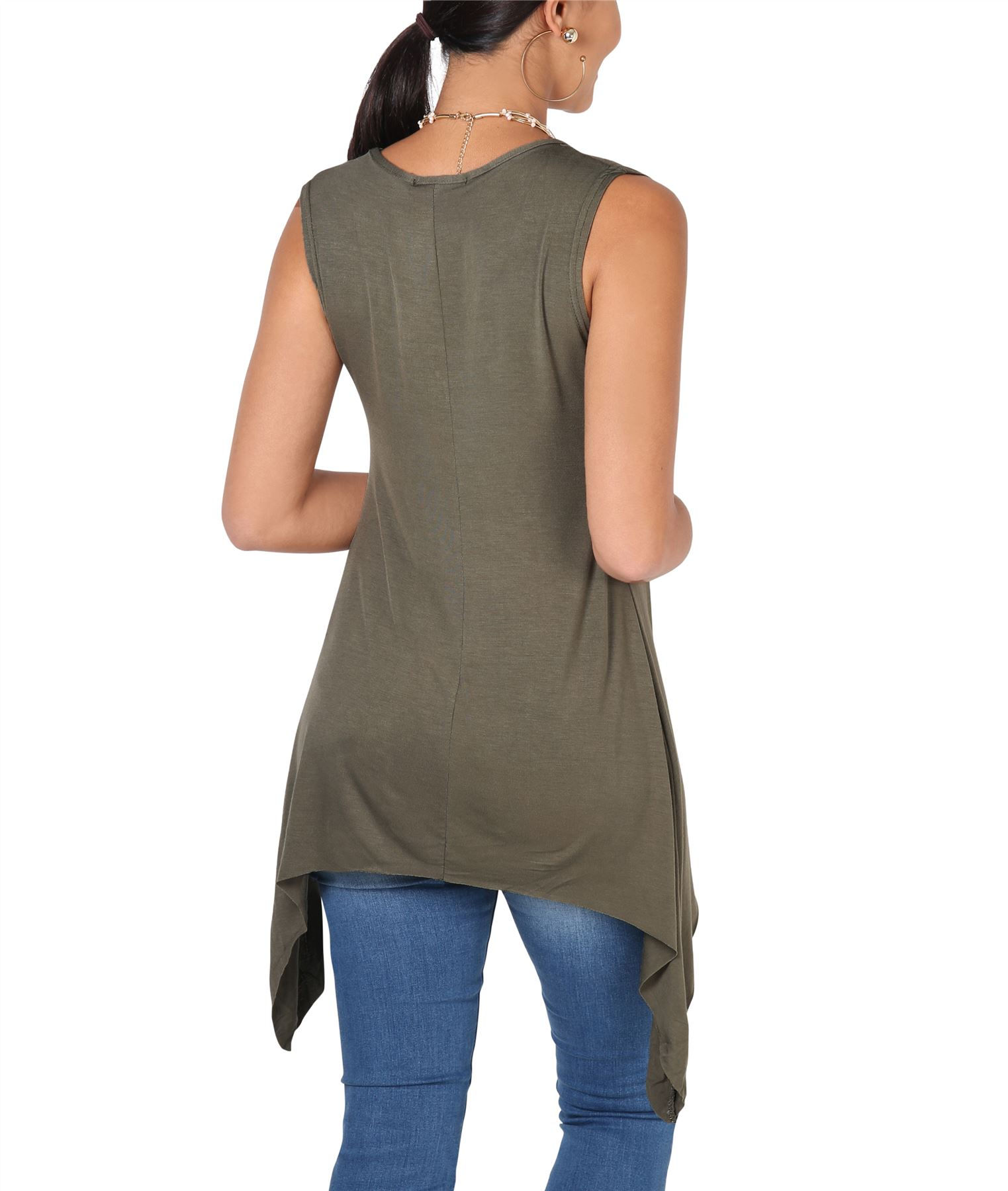 Women-Long-Top-Sleeveless-Pleated-Tee-Shirt-Tunic-Jersey-Stretch-Loose-Fit thumbnail 14