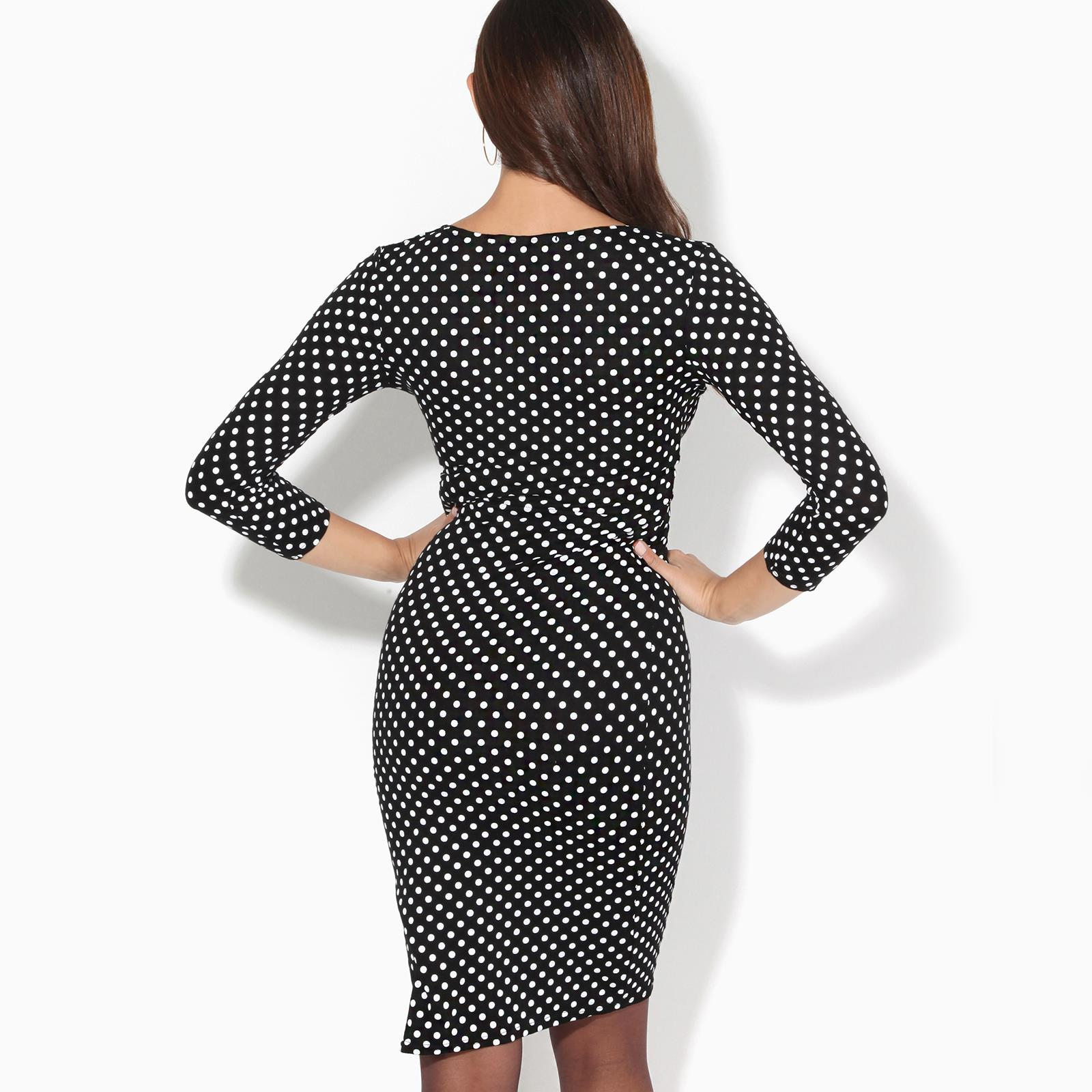 Womens-Polka-Dot-Dress-Pleated-Skirt-Wrap-Front-Midi-V-Neck-Top-Swing-Party thumbnail 4