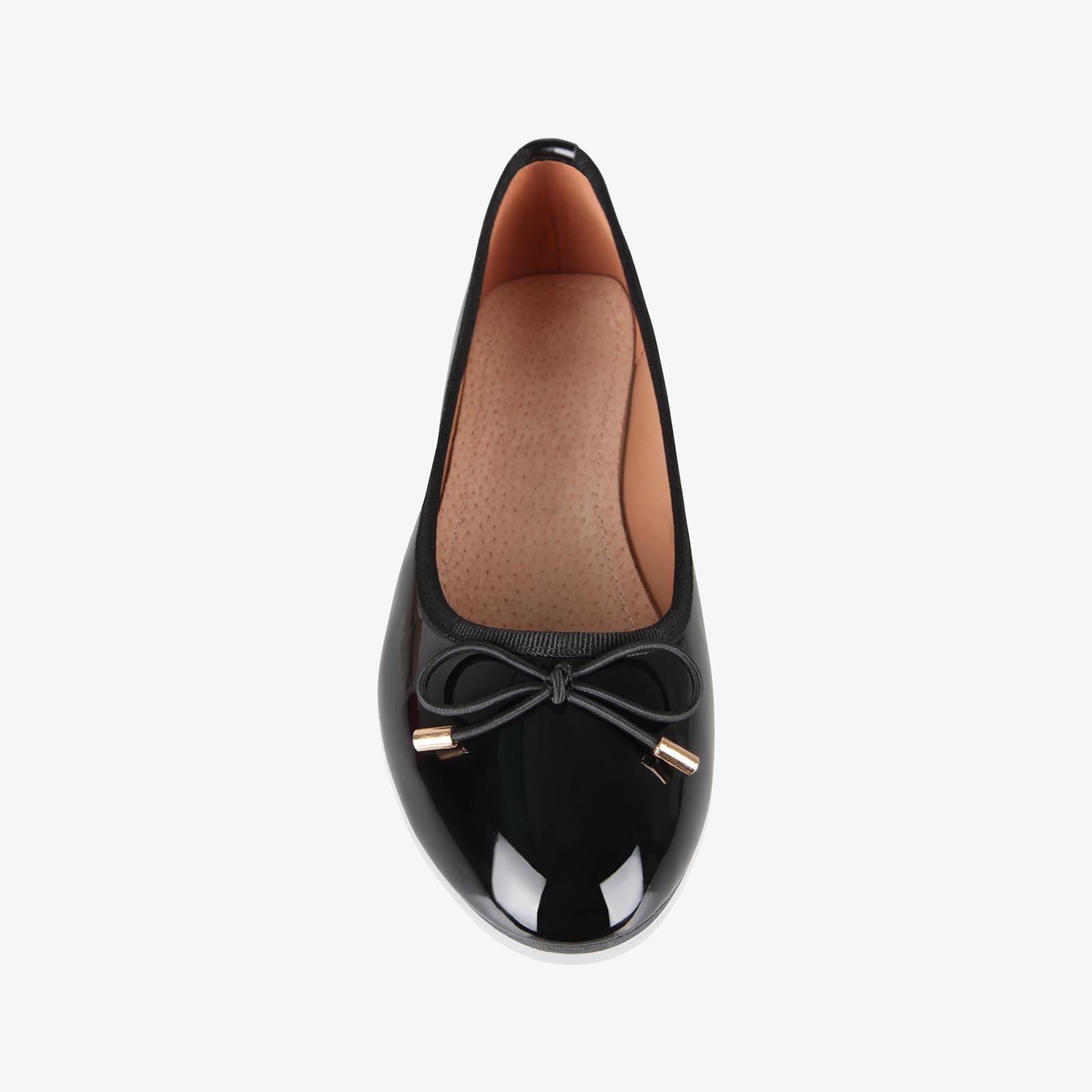 Womens-Ladies-Patent-Flat-Shoes-Ballerina-Ballet-Dolly-Court-Pumps-Slip-On-Bow thumbnail 3