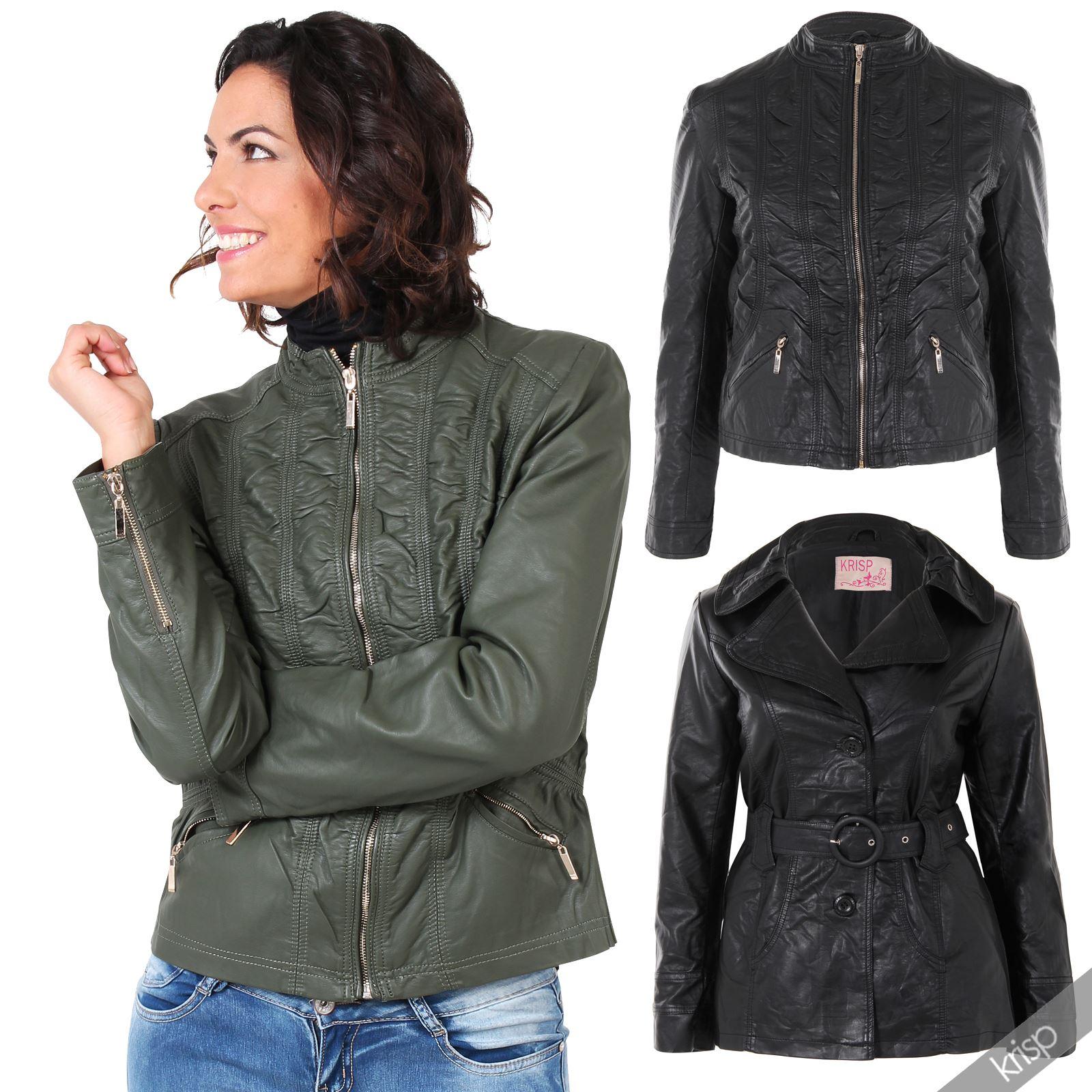Leather jacket size 18 - Womens Soft Pu Leather Belted Collared Mac Jacket Vintage Coat Plus Size 18 24