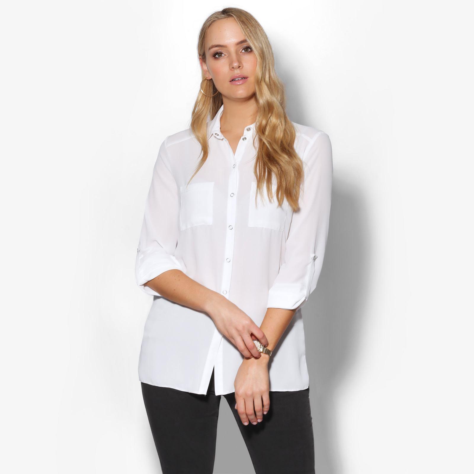 Women Oversized Long Sleeve Ladies Chiffon Shirt Blouse Top Work