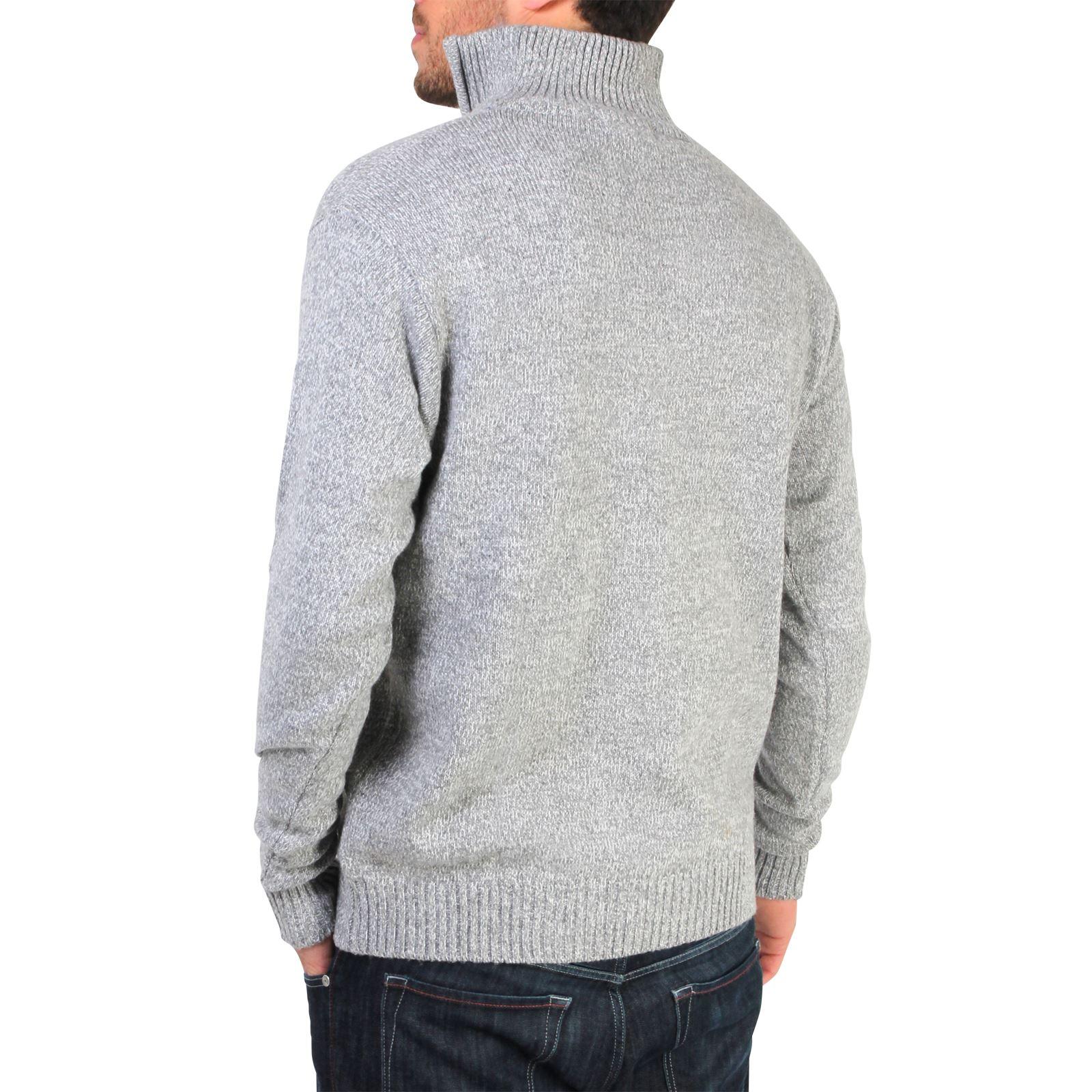 Mens-Soft-Wool-Knit-Half-Zip-Funnel-Neck-Jumper-Sweater-Top-Grandad-Pullover-Top thumbnail 7