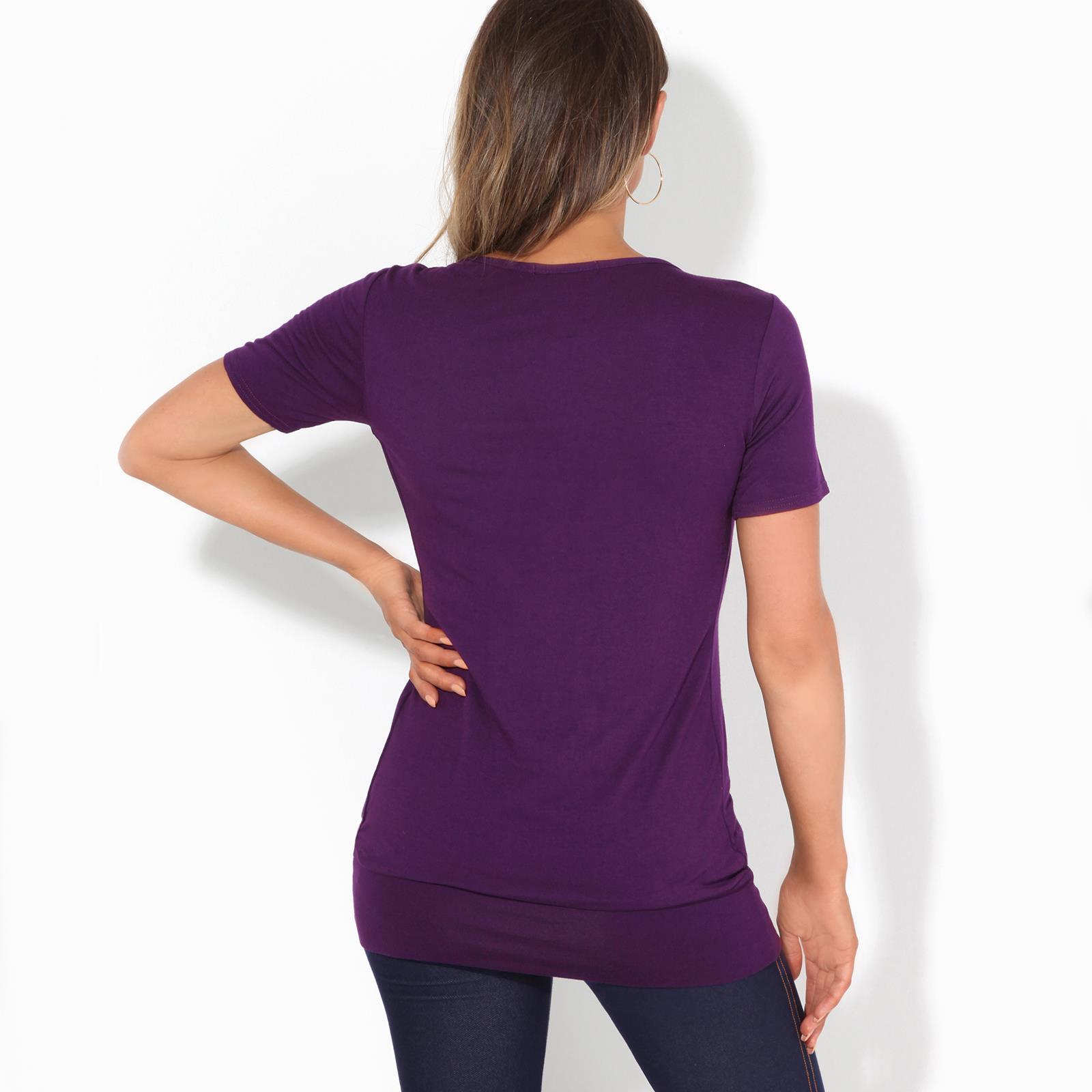 Femmes-Top-Haut-Chemisier-T-Shirt-Chemise-Blouse-Tunique-Long-Grandes-Tailles miniature 13