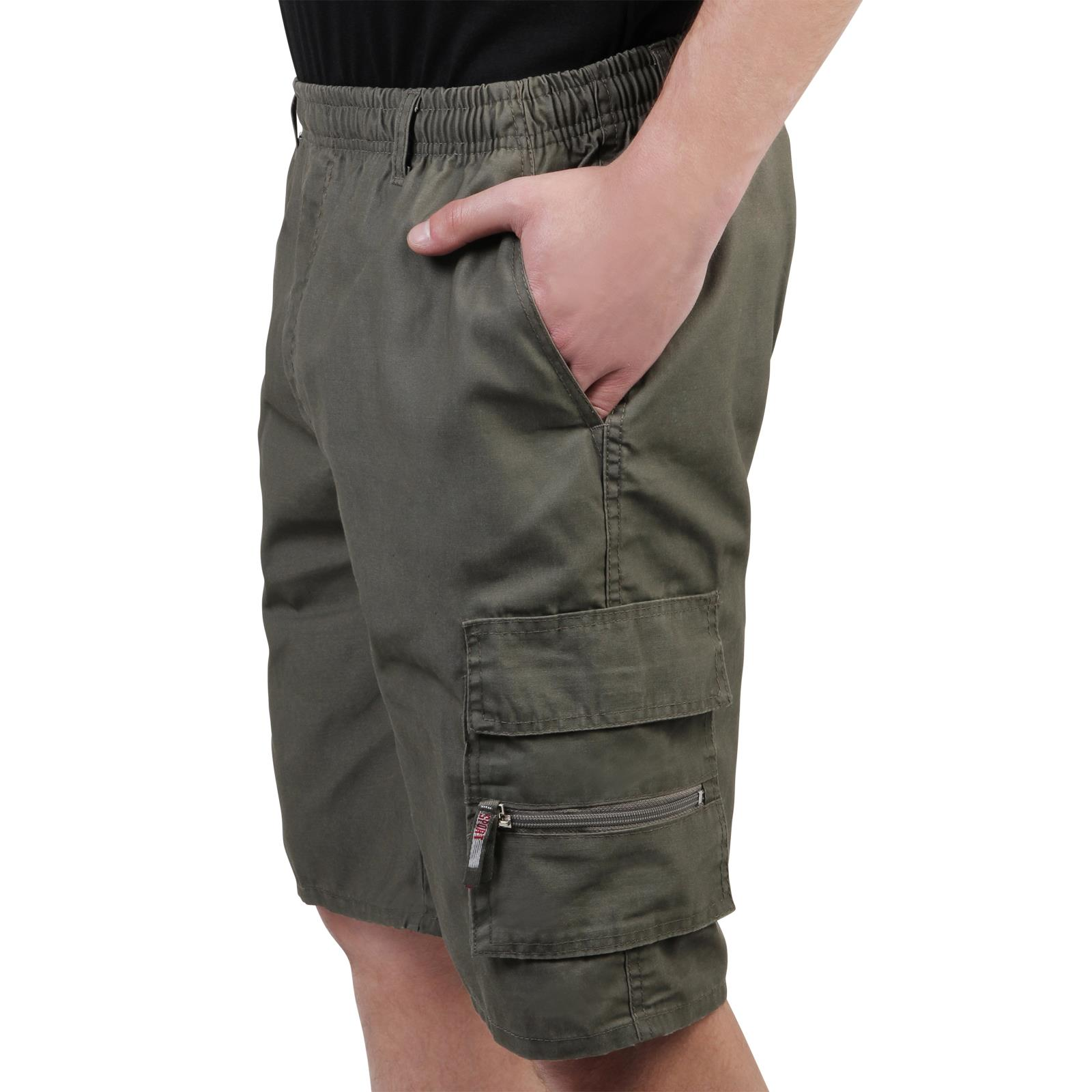 Mens-Cotton-Cargo-Shorts-Plain-Basic-Casual-Work-Chinos-Combat-Pants-Regular thumbnail 5