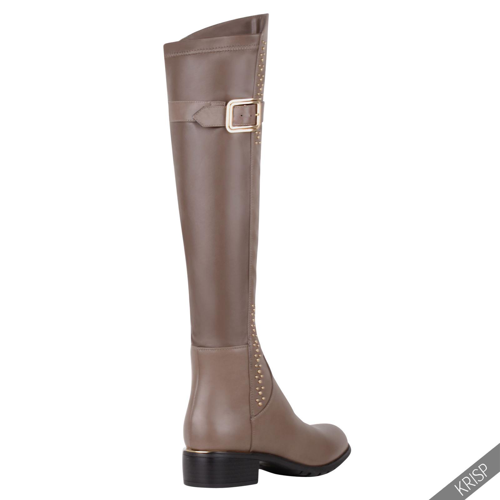 1b947dd767f Womens Tassel Stretch Over Knee High Boots Low Heel Ladies Winter ...