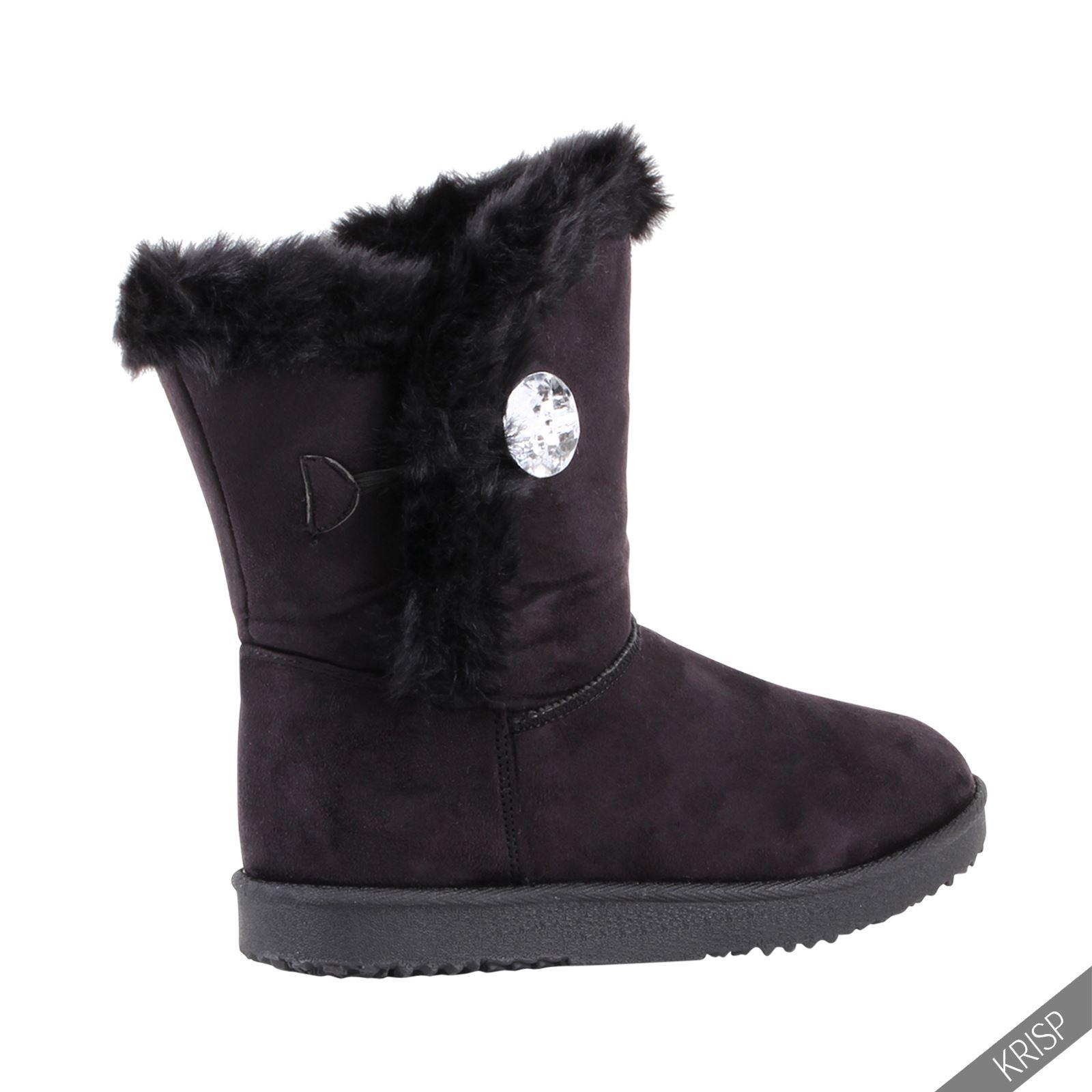 Womens-Fur-Lined-Short-Mini-Snug-Ankle-Calf-Boots-Flat-Ladies-Winter-Shoes-Snow