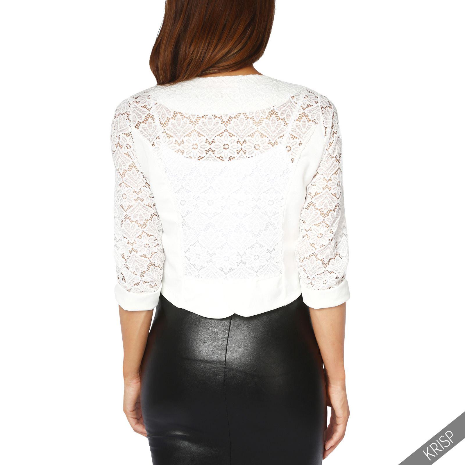 Womens-Ladies-Bolero-Lace-Shrug-Short-Sleeve-Cardigan-Cropped-Party-Top-Jacket thumbnail 24