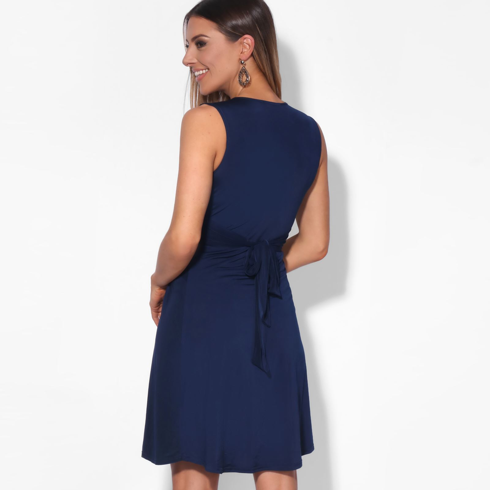 Robe-Femme-Courte-Patineuse-Decollete-Fronce-Elegante-Chic-N-ud-Cocktail-Mariage miniature 12