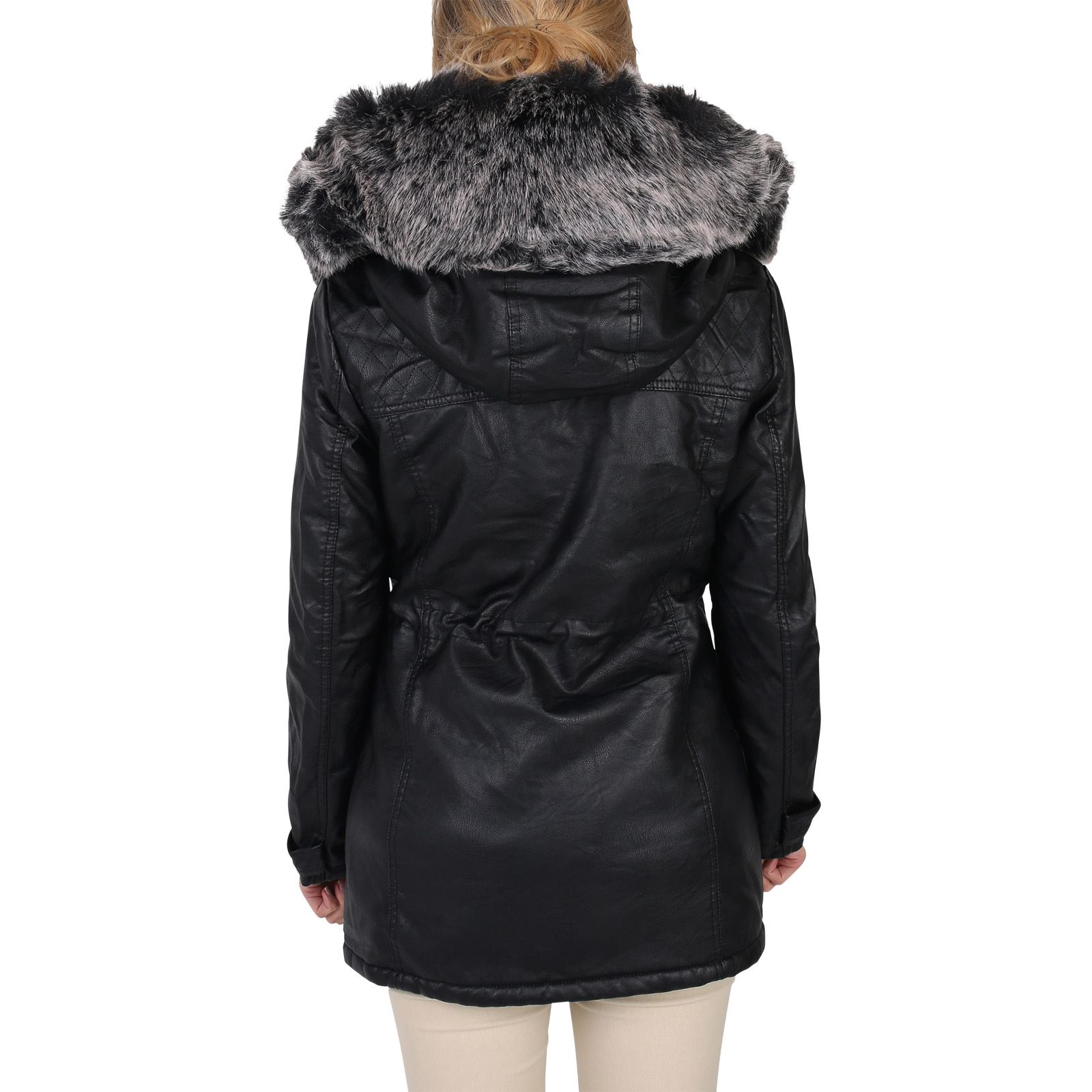 womens ladies warm faux fur lined leather hooded long winter parka jacket coat ebay. Black Bedroom Furniture Sets. Home Design Ideas