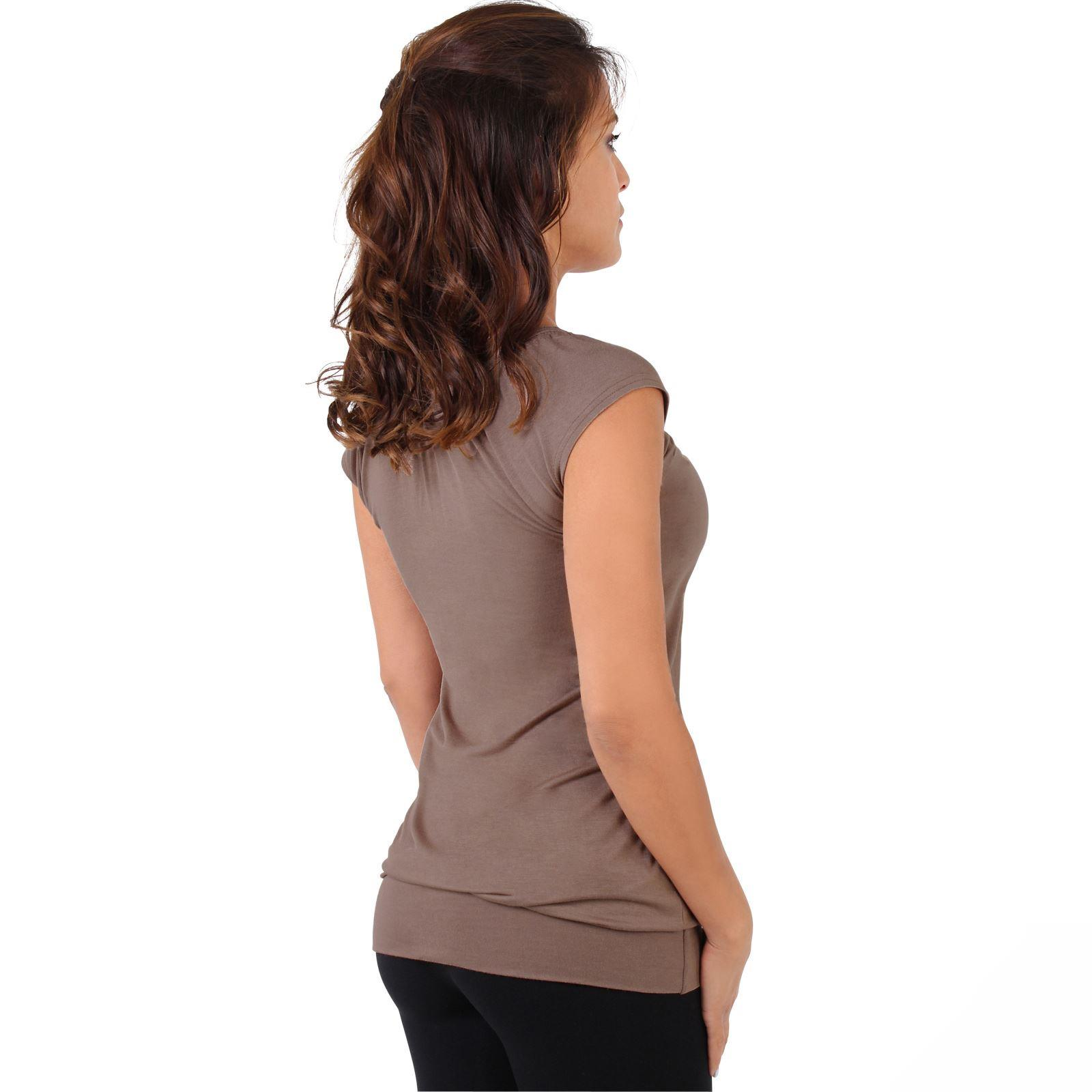Womens-Ladies-Plain-T-Shirt-Short-Sleeve-Long-Loose-V-Neck-Blouse-Tunic-Top thumbnail 30