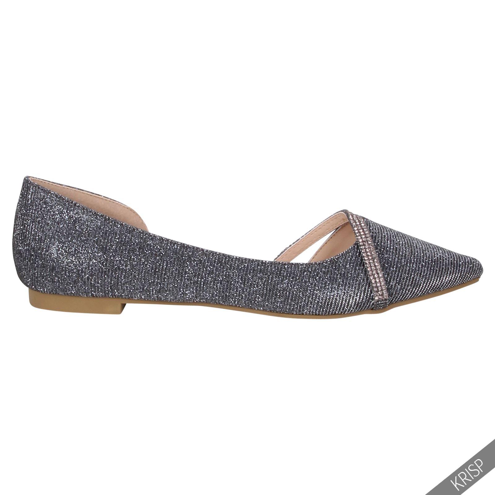 Ballerinas Flats Slipper Damen Schuhe TOP Pumps 1737 Silber 37