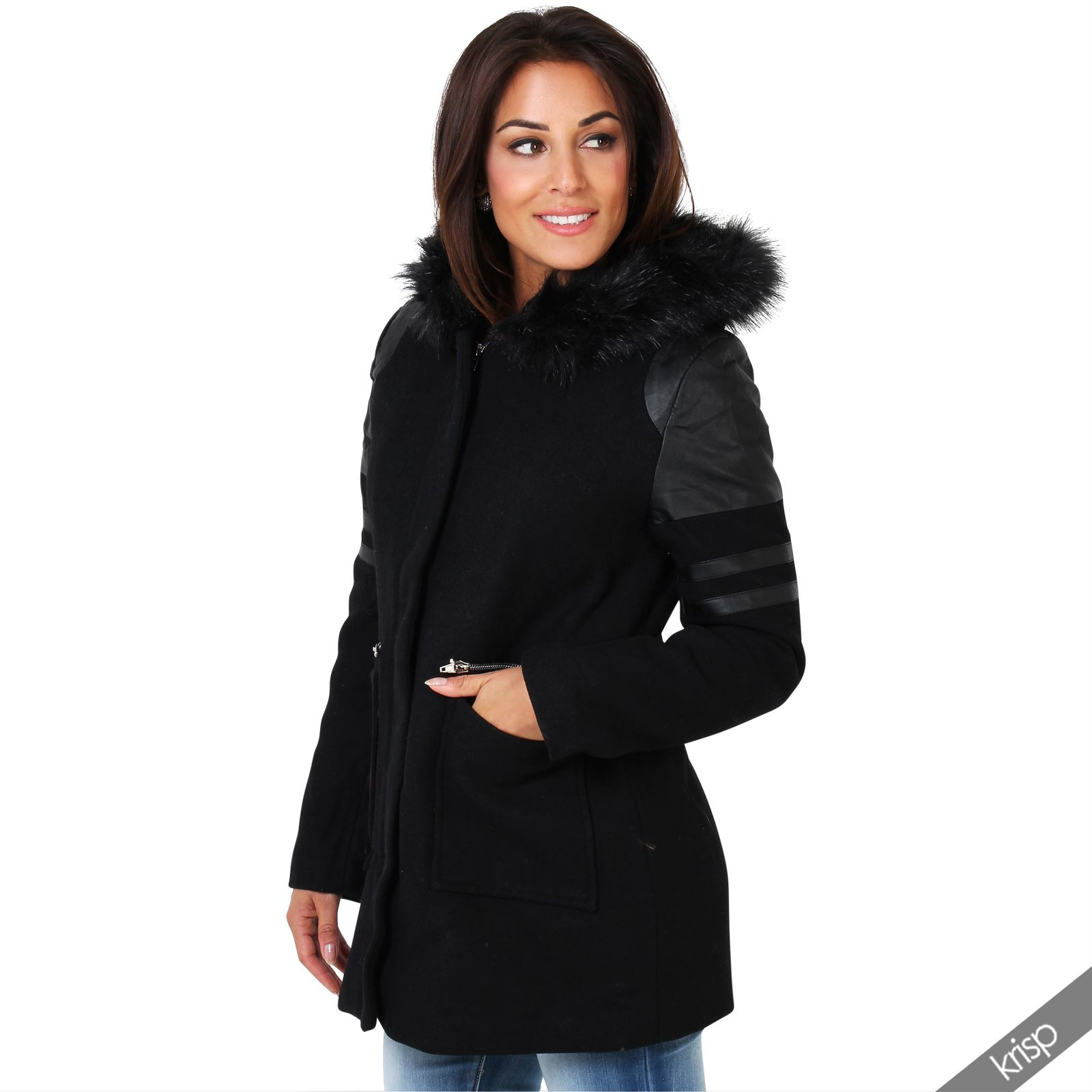 femmes manteau parka laine doubl capuche fourrure empi cement cuir chaud ebay. Black Bedroom Furniture Sets. Home Design Ideas