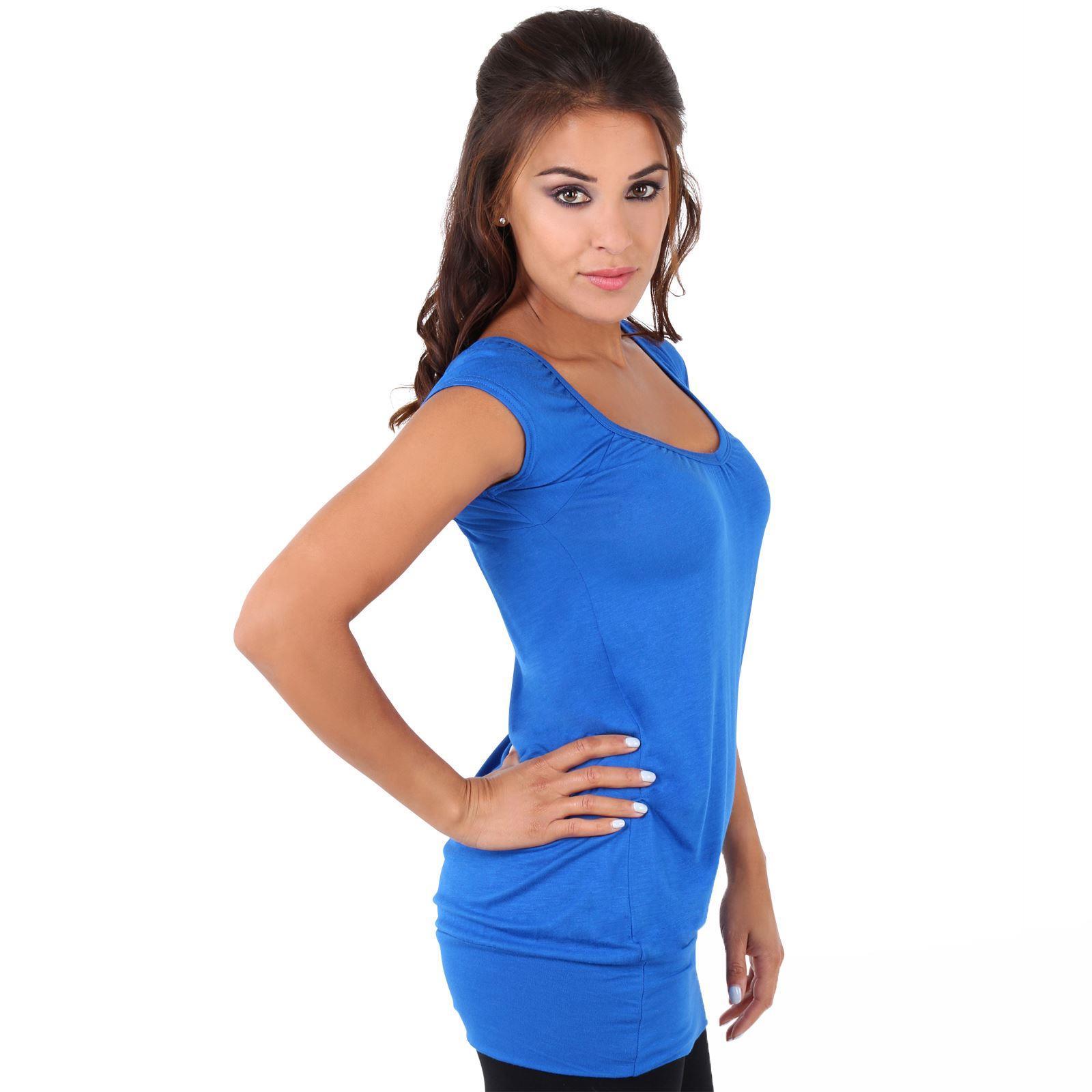 Womens-Ladies-Plain-T-Shirt-Short-Sleeve-Long-Loose-V-Neck-Blouse-Tunic-Top thumbnail 52