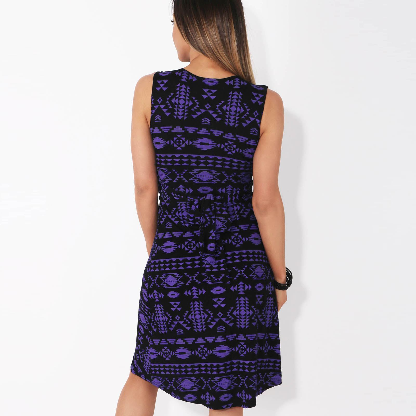 Womens-V-Neck-Mini-Dress-Small-Sizes-Short-Skirt-Tribal-Print-Front-Knot-Party thumbnail 12