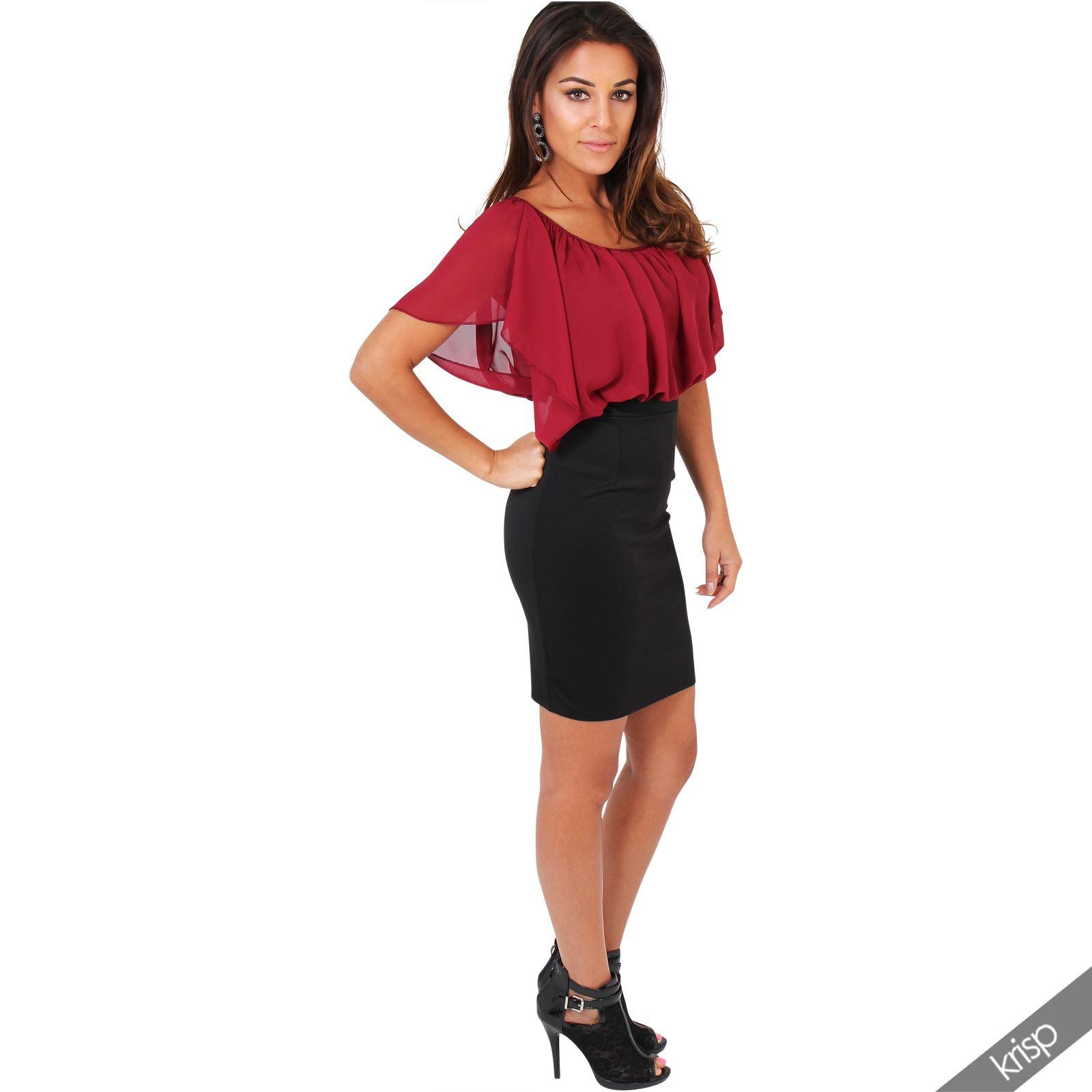 Womens-Pleated-Chiffon-Batwing-Top-High-Waist-Pencil-Bodycon-Skirt-Mini-Dress thumbnail 36