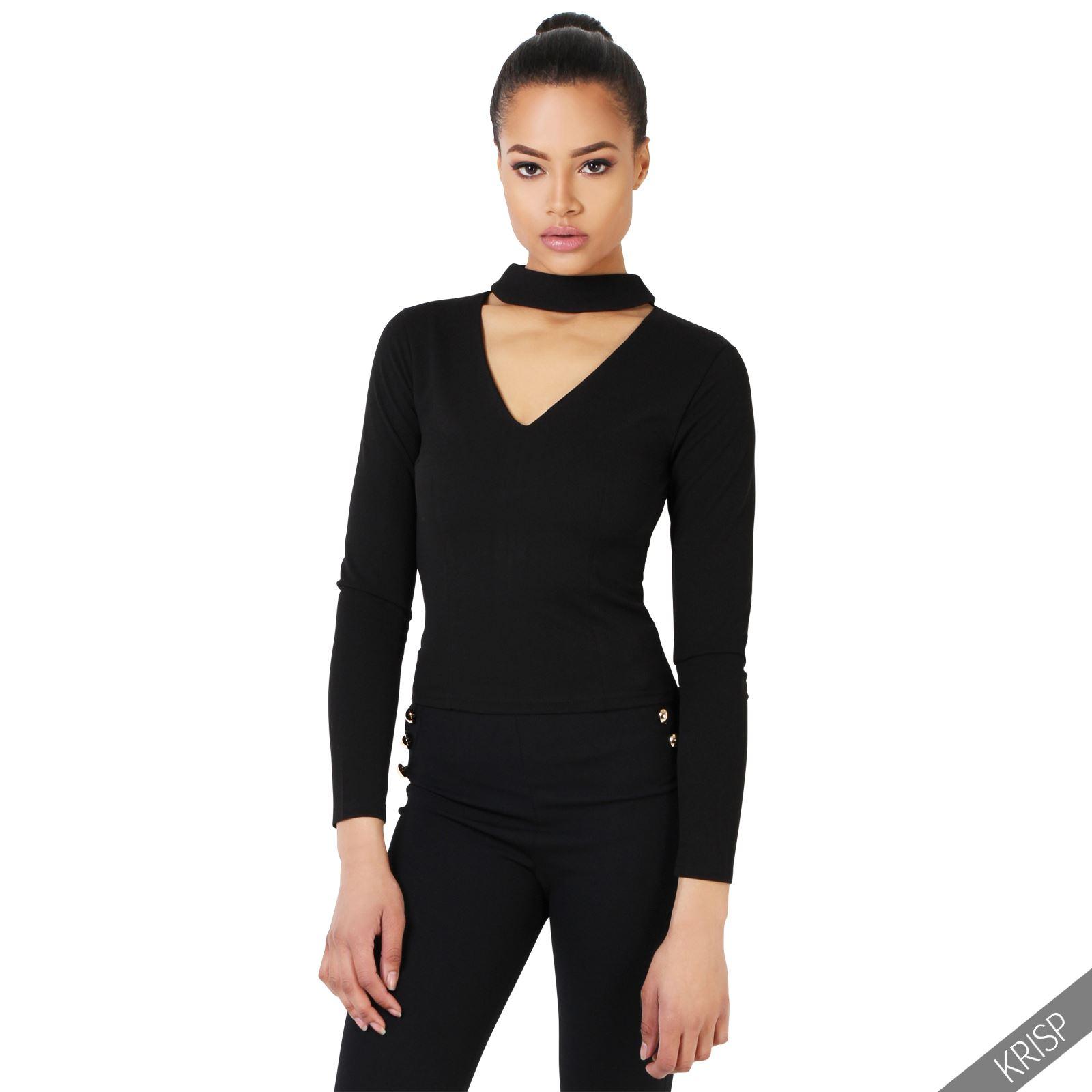Womens stretch v neck cut choker plunge top zip back for V neck back shirt