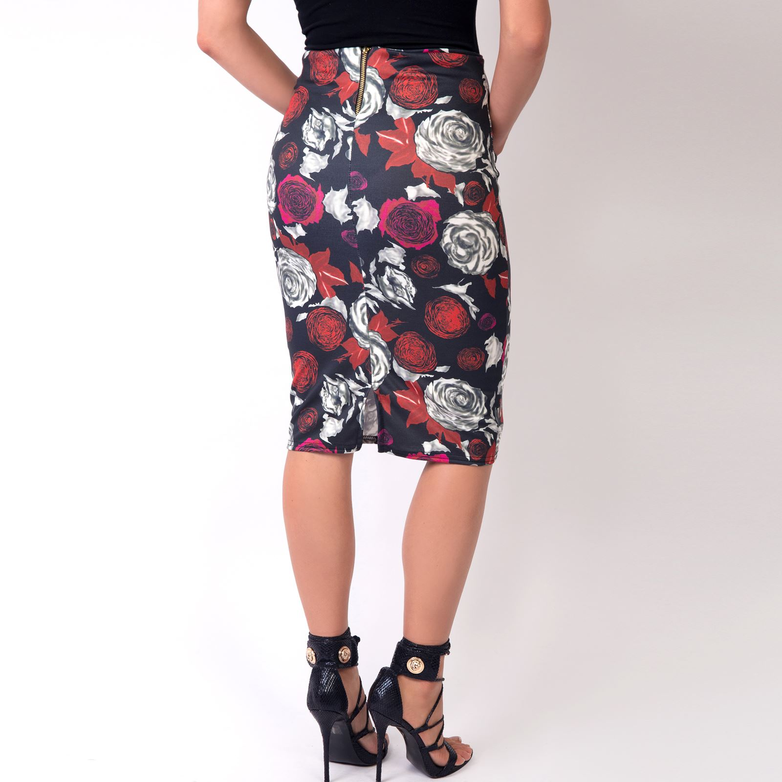 Womens-Midi-Pencil-Skirt-Bodycon-Ladies-Stretch-Fit-Printed-Knee-Long-Work-Party thumbnail 11