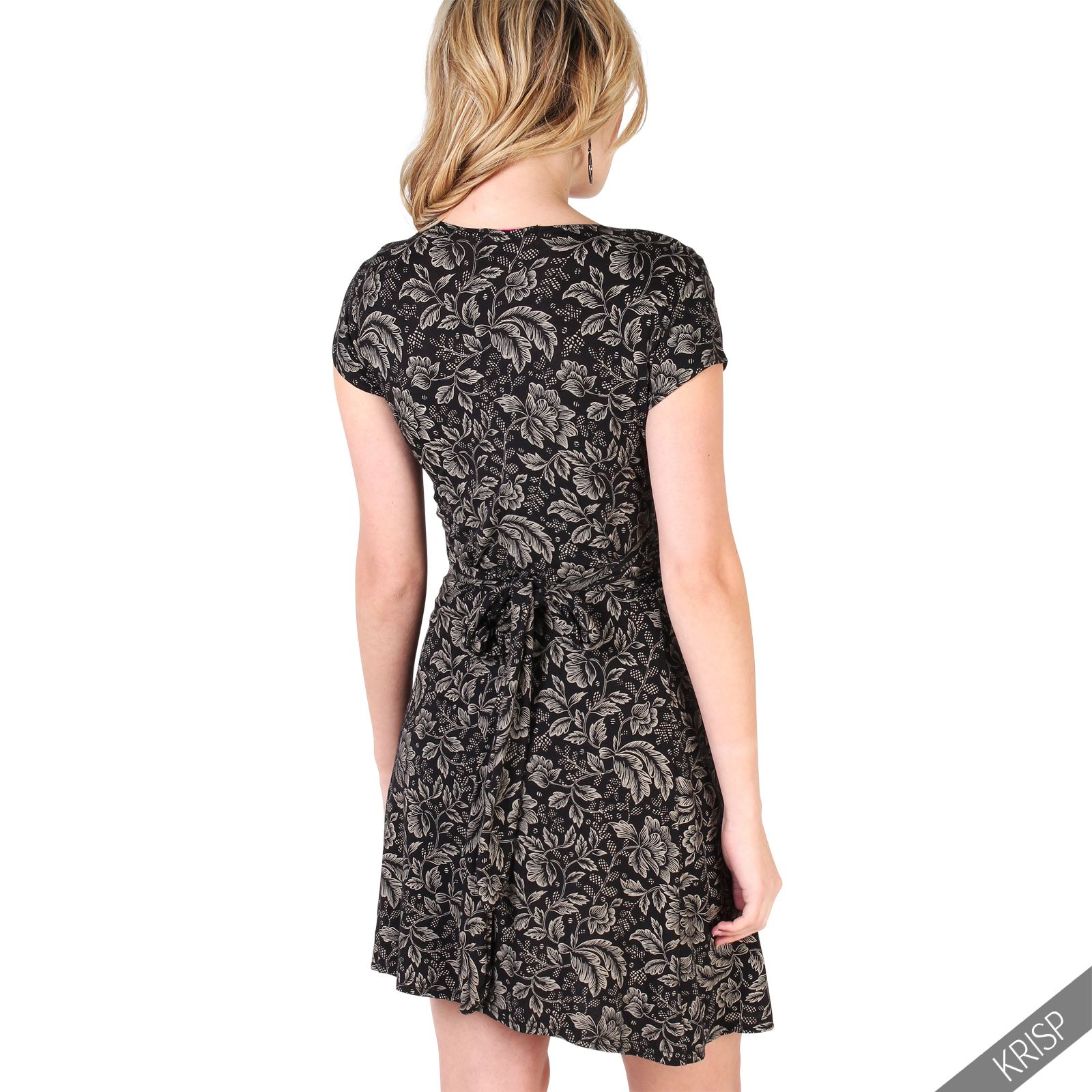 Womens-Ladies-V-Neck-Mini-Midi-Dress-Floral-Print-Knot-Short-Skirt-Party-Casual thumbnail 18