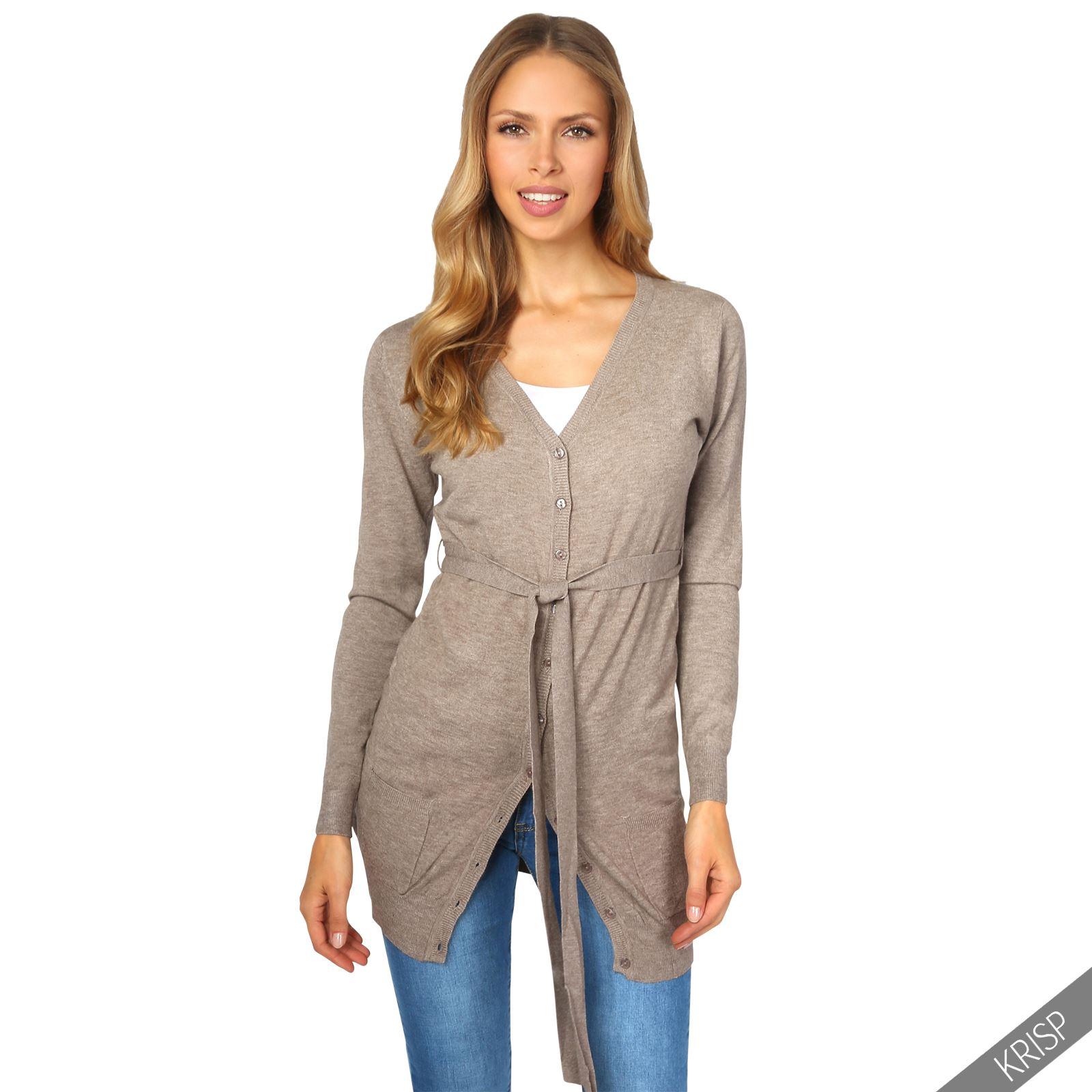 femmes cardigan gilet coatigan pull poches ceinture long veste cachemire tricot ebay. Black Bedroom Furniture Sets. Home Design Ideas