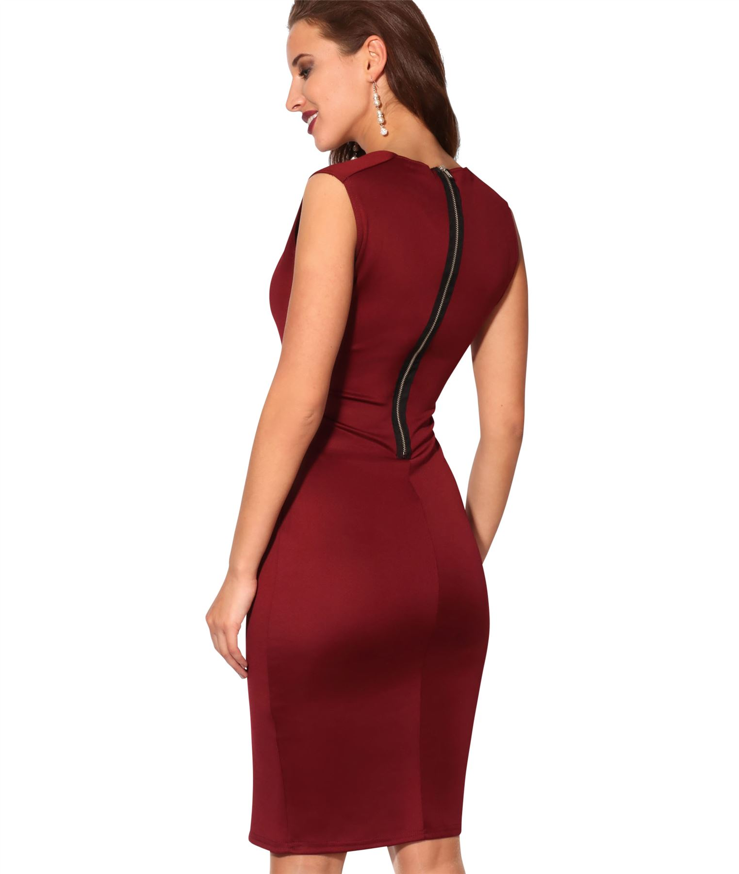 Womens-Pencil-Midi-Bodycon-Dress-Square-Neck-Panelled-Sexy-Zip-Party-Evening thumbnail 30
