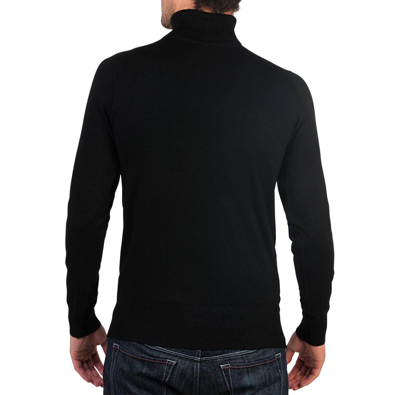 Hommes-Pull-Col-Roule-Uni-Classique-Manche-Longue-Polo-T-Shirt-Slim-Fit-Coton miniature 7