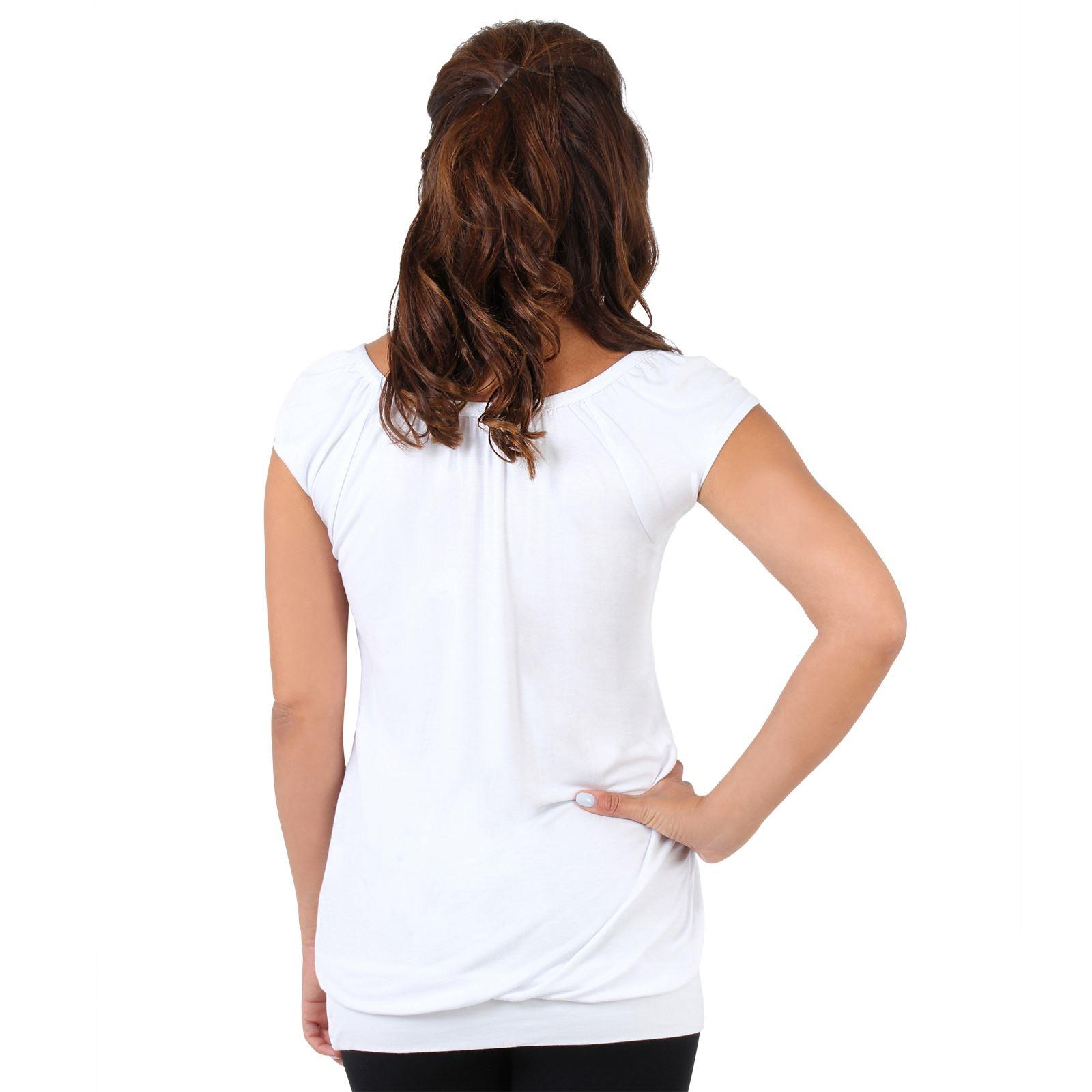 Womens-Ladies-Scoop-Neck-Blouse-V-T-Shirt-Long-Short-Sleeve-Plain-Loose-Top thumbnail 55
