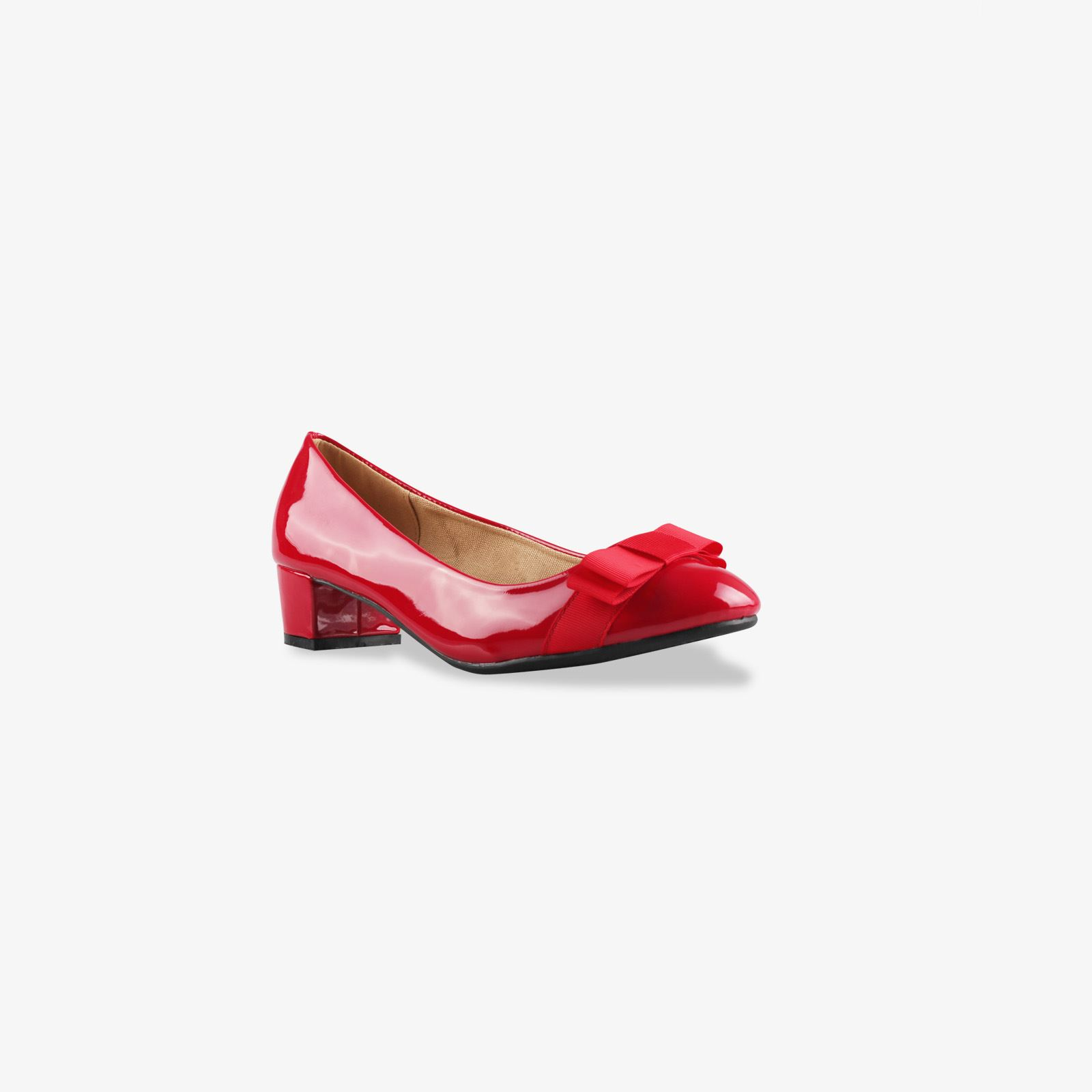 Details about Womens Patent Ballerina Bow Flats Low Block Heel Court Shoes Party Casual Pumps