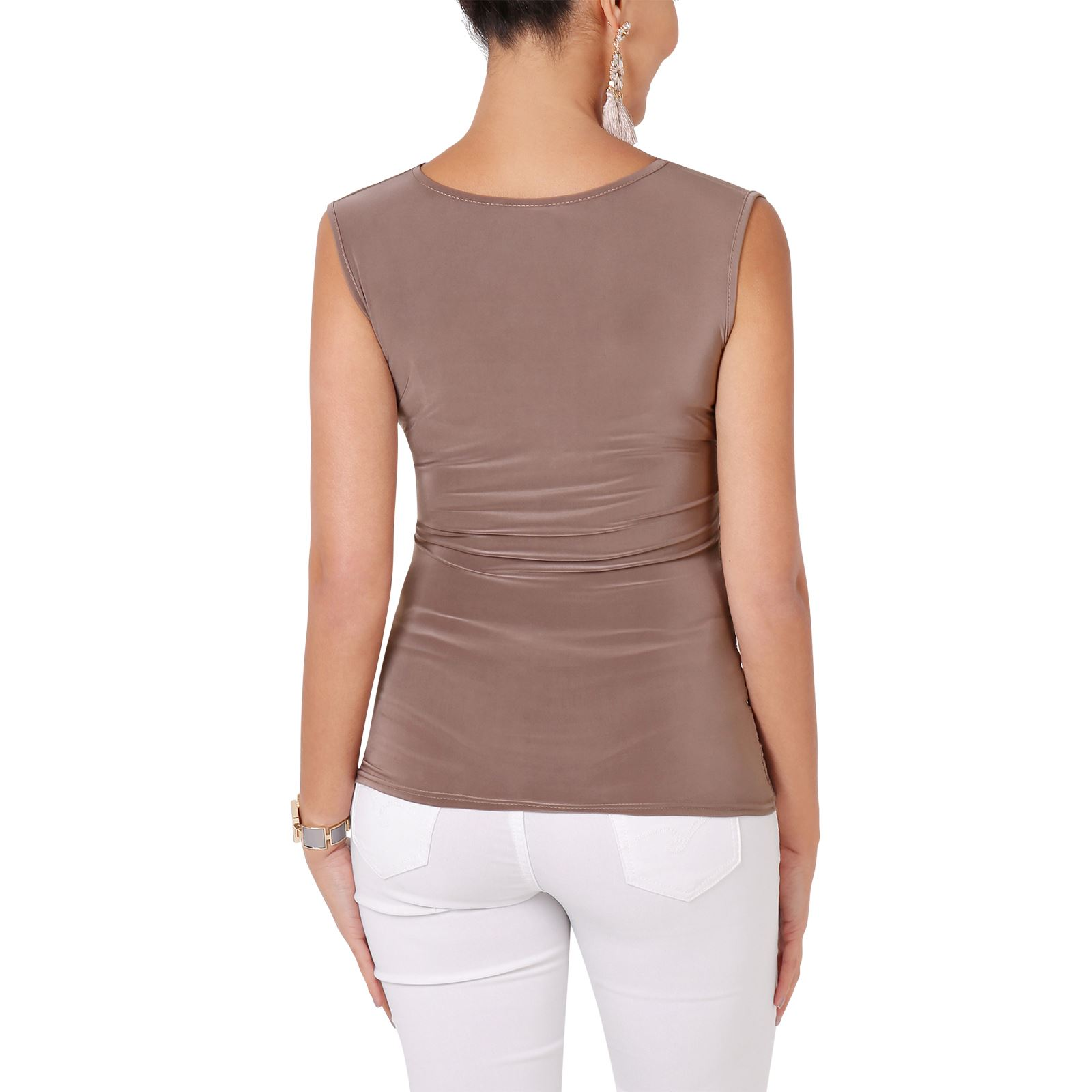 Womens-Evening-Tops-V-Neck-Ladies-Stretch-Sleeveless-Ruched-Tunic-Party-Tank-Top thumbnail 10