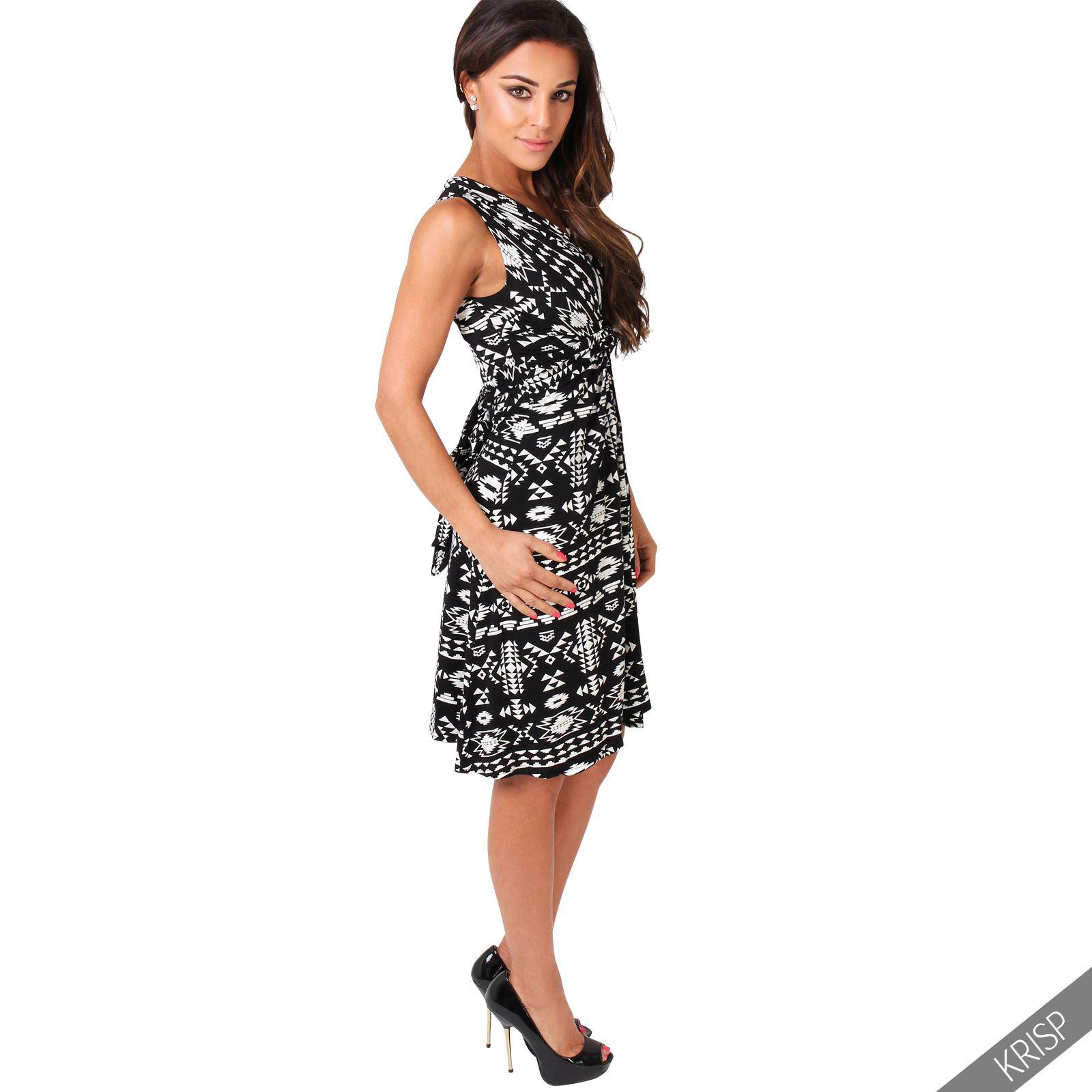 Womens-V-Neck-Mini-Dress-Small-Sizes-Short-Skirt-Tribal-Print-Front-Knot-Party thumbnail 7