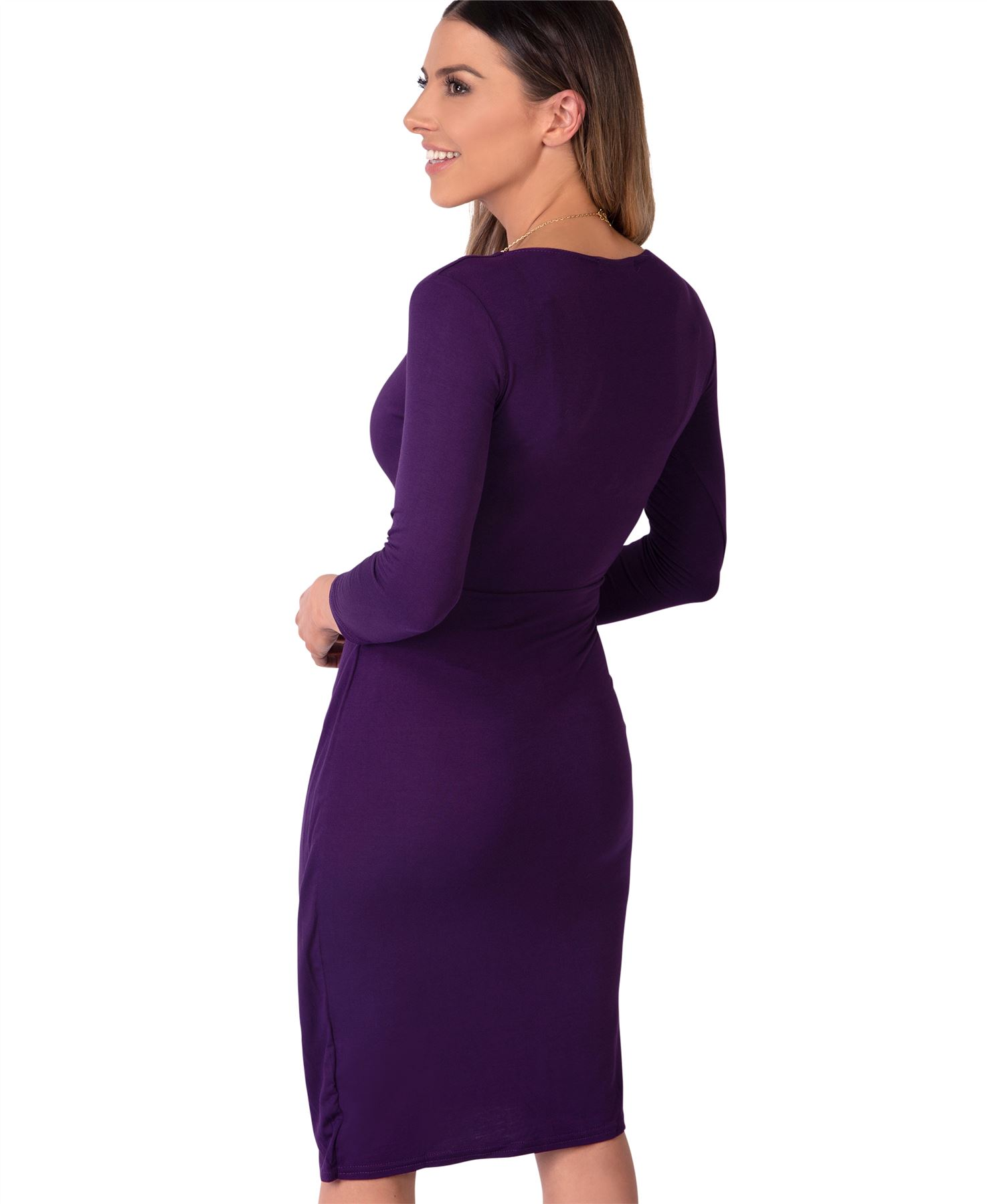 Womens-Ladies-Shift-Wrap-Dress-Midi-Knee-Long-Quarter-Sleeve-Sexy-Solid-Party thumbnail 22