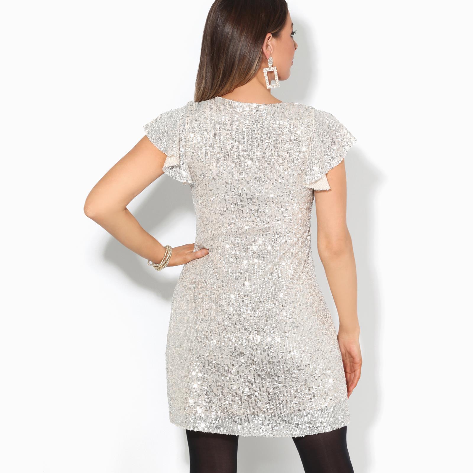 Womens-Ladies-Sequin-Glitter-Dress-Party-Ruffle-Sleeve-Evening-Lurex-Tunic-Top thumbnail 7