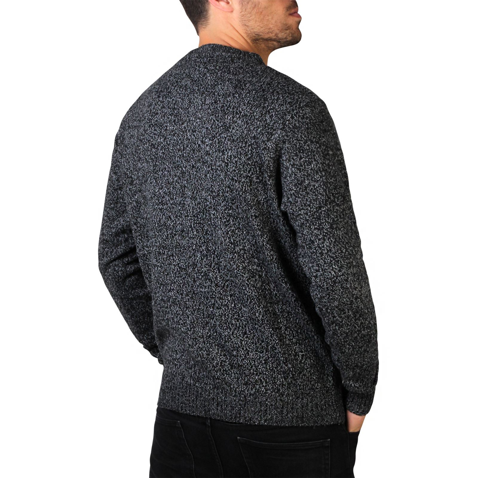 Mens-Soft-Knitted-Round-Crew-Neck-Warm-Jumper-Sweater-Grandad-Pullover-Top thumbnail 3