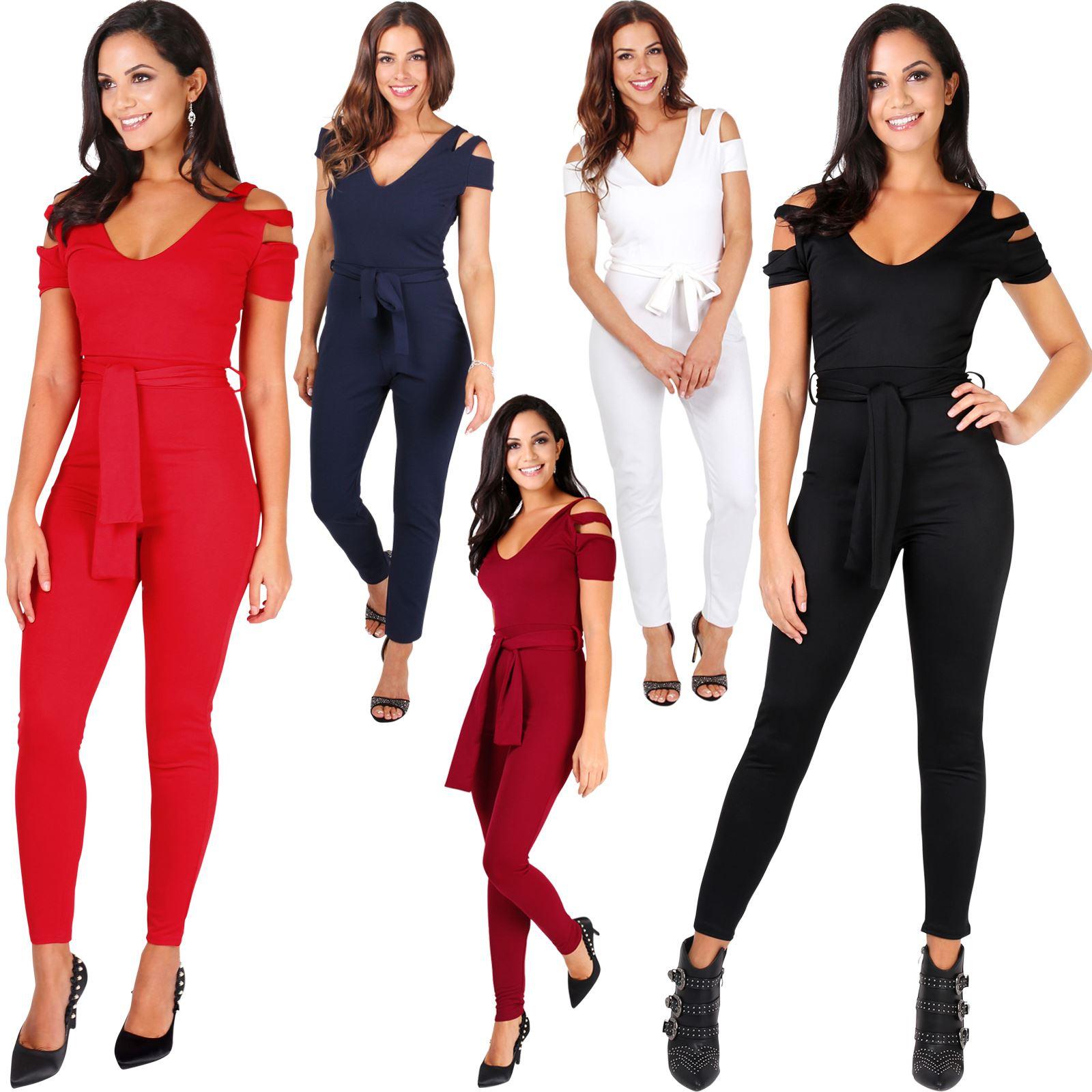 6f90982ab13c Details about Womens Ladies Cut Sleeve Off Shoulder Tailored Plunge V Neck  Jumpsuit Playsuit