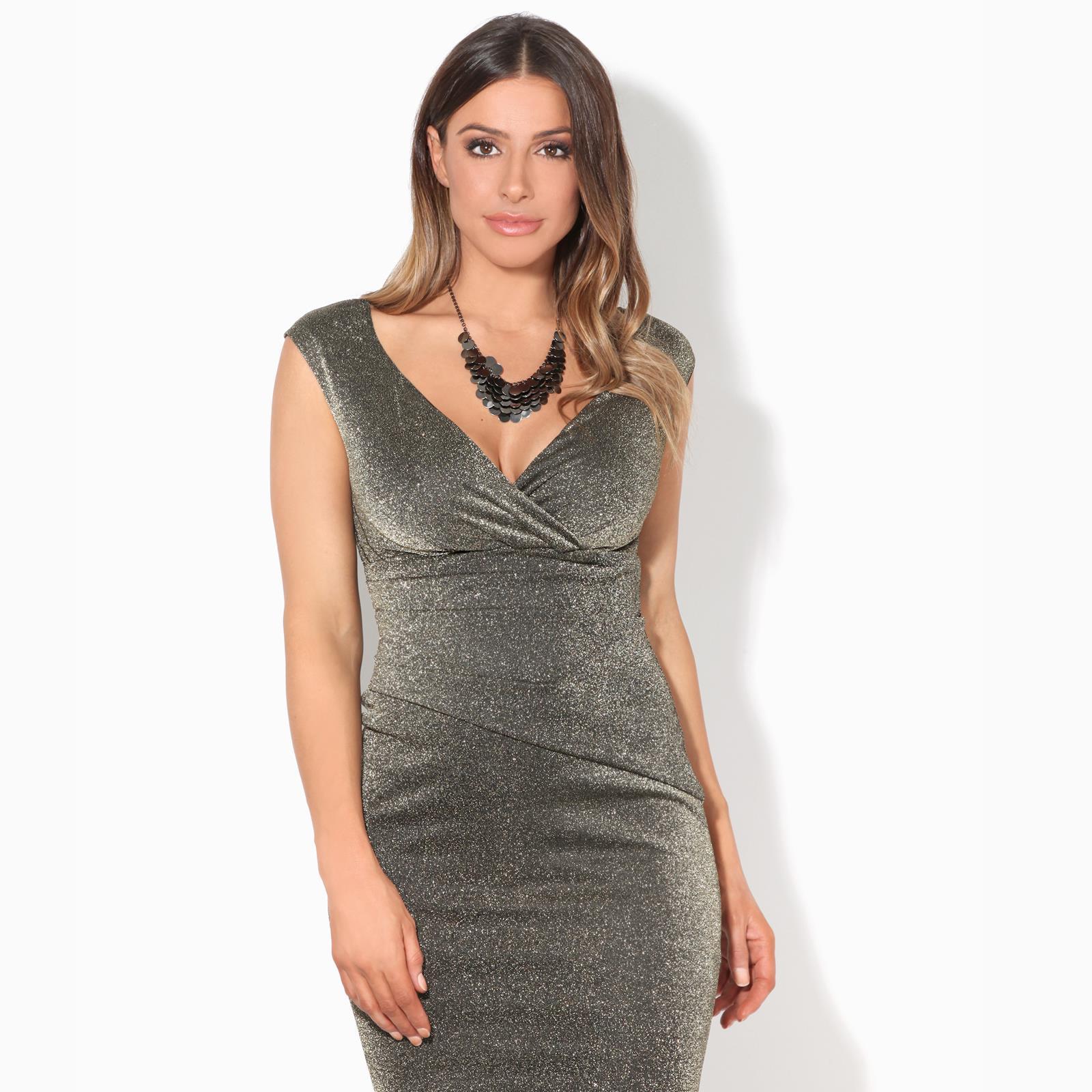Womens-Ladies-Glitter-Party-Dress-Evening-Lurex-Fishtail-Maxi-Off-Shoulder thumbnail 3