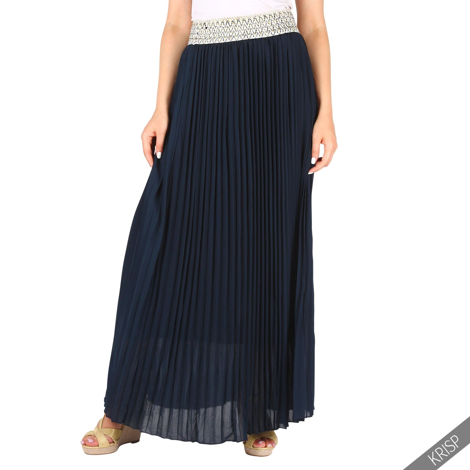 Falda-Mujer-Larga-Plisada-Verano-Fiesta-Bodas-Maxi-Cintura-Alta-Elastica-Tablas