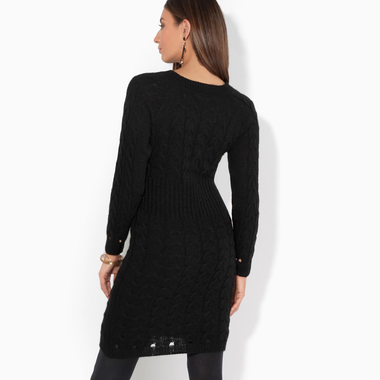 Womens-Ladies-Jumper-Dress-Longsleeve-Mini-Warm-Winter-Knit-Top-Bodycon thumbnail 7
