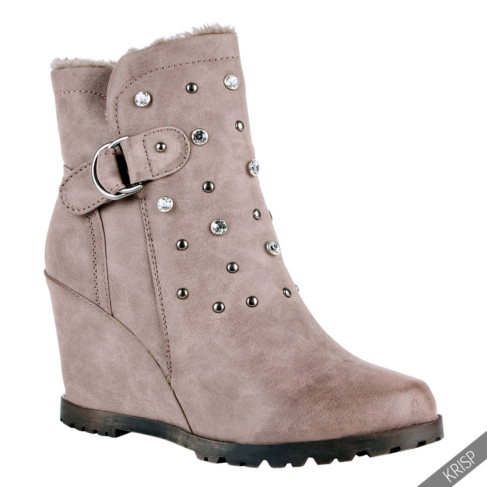 fur lined studded wedge ankle boots high heel