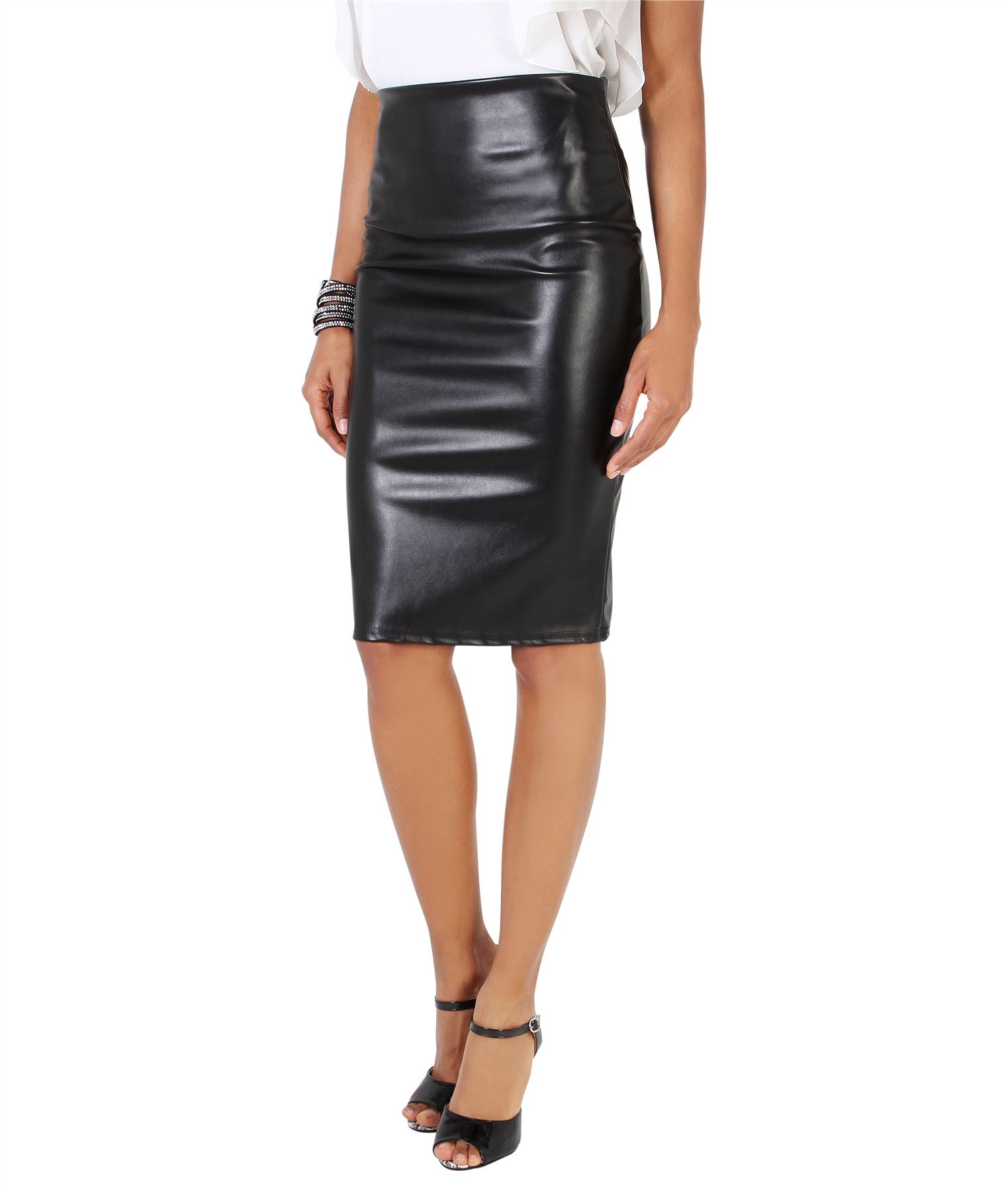 Womens-Ladies-Leather-Pencil-Skirt-Sexy-Wet-Look-Stretch-PU-Mini-Midi-Bodycon thumbnail 10