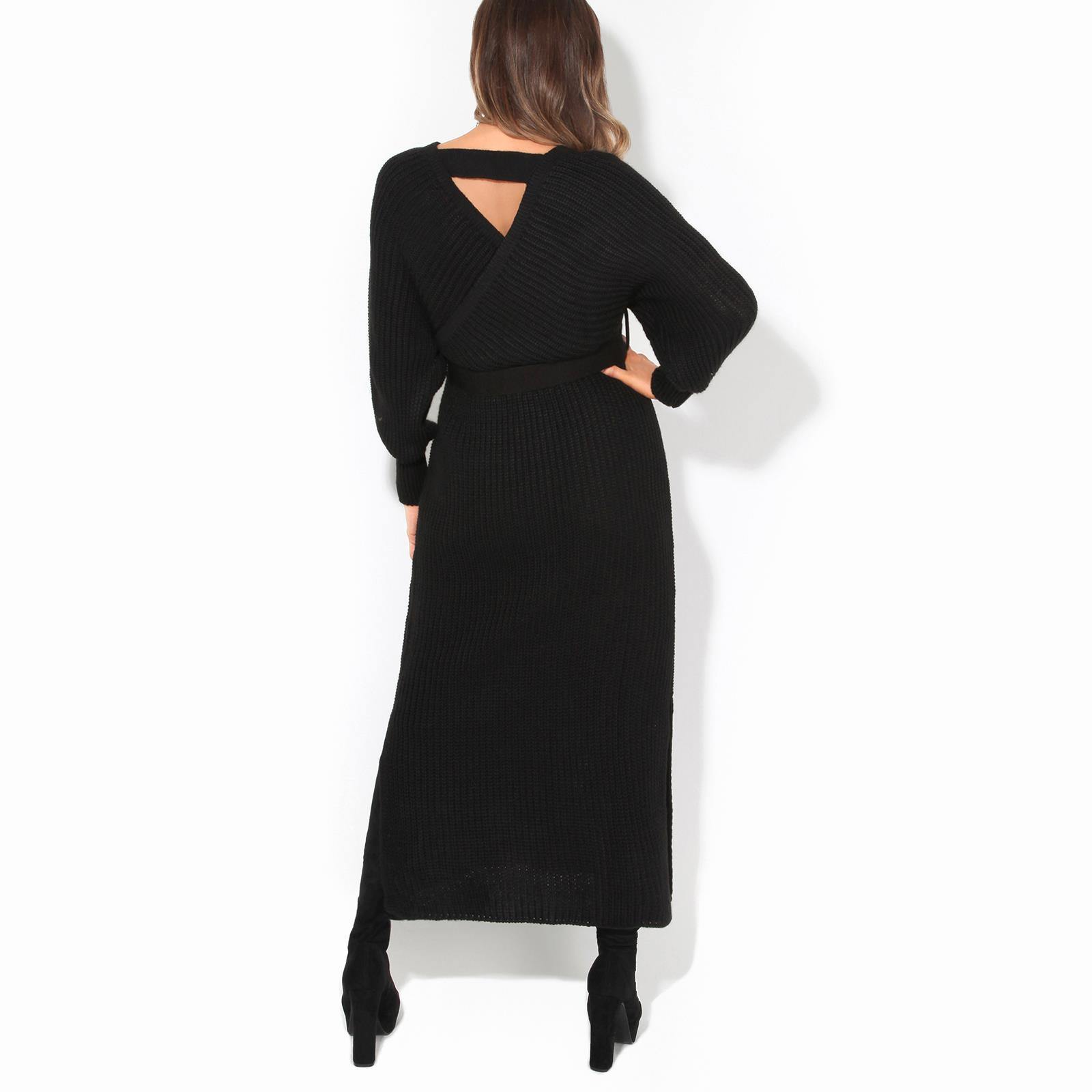 Womens-Ladies-Jumper-Dress-Chunky-Knit-Wrap-V-Neck-Maxi-Long-Sleeve-Winter-Top thumbnail 4