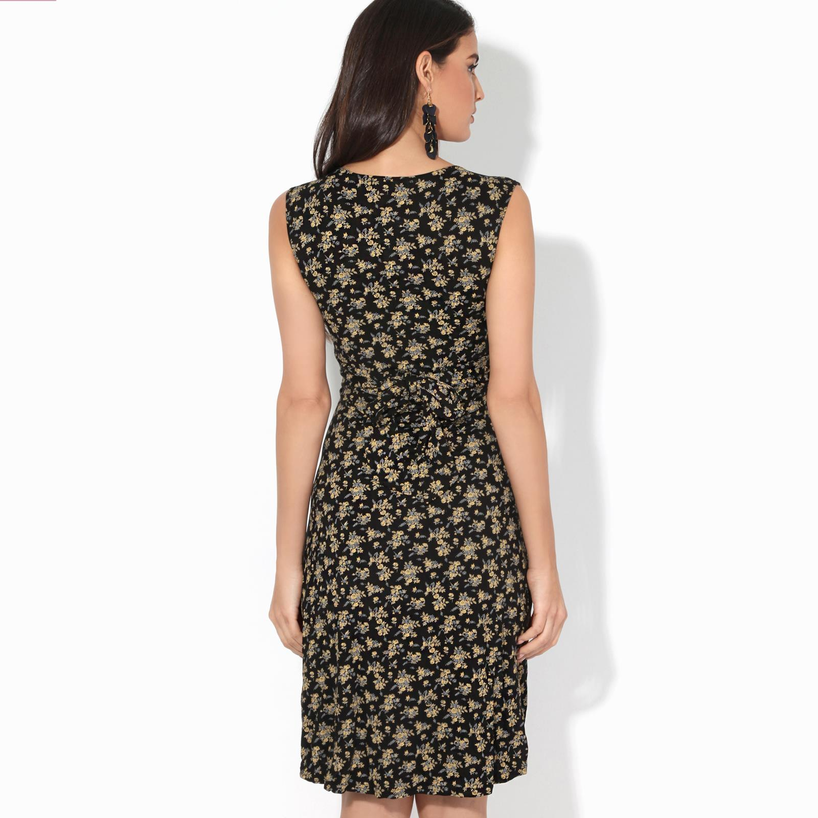 Women-Ladies-Floral-Midi-Dress-Pattern-Sleeveless-V-Neck-Stretch-Casual-Sundress thumbnail 7