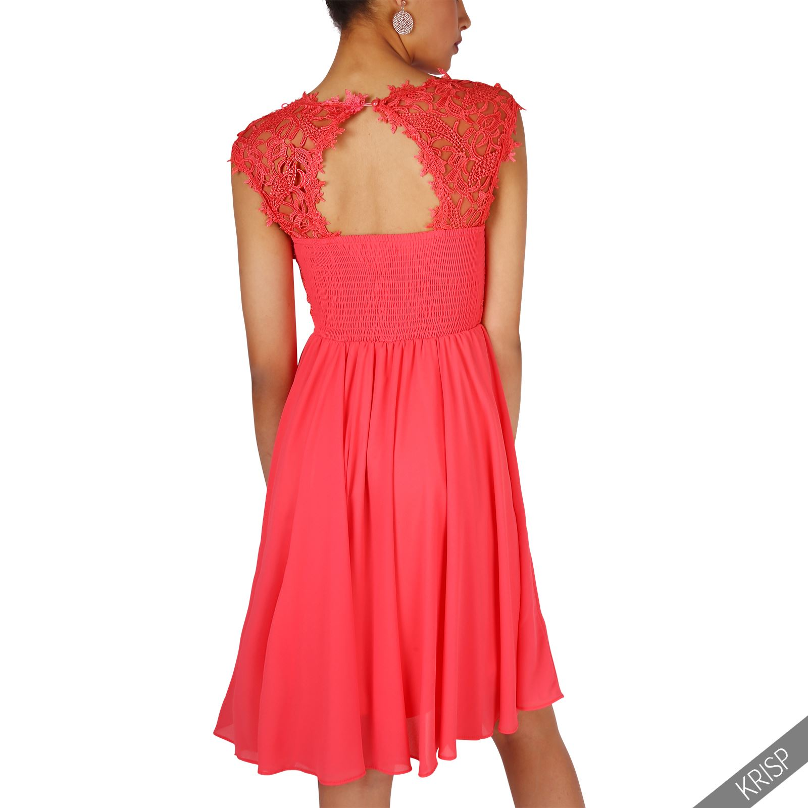 femmes robe asym trique mousseline soie tenue soir e dentelle crochet bal gala ebay. Black Bedroom Furniture Sets. Home Design Ideas