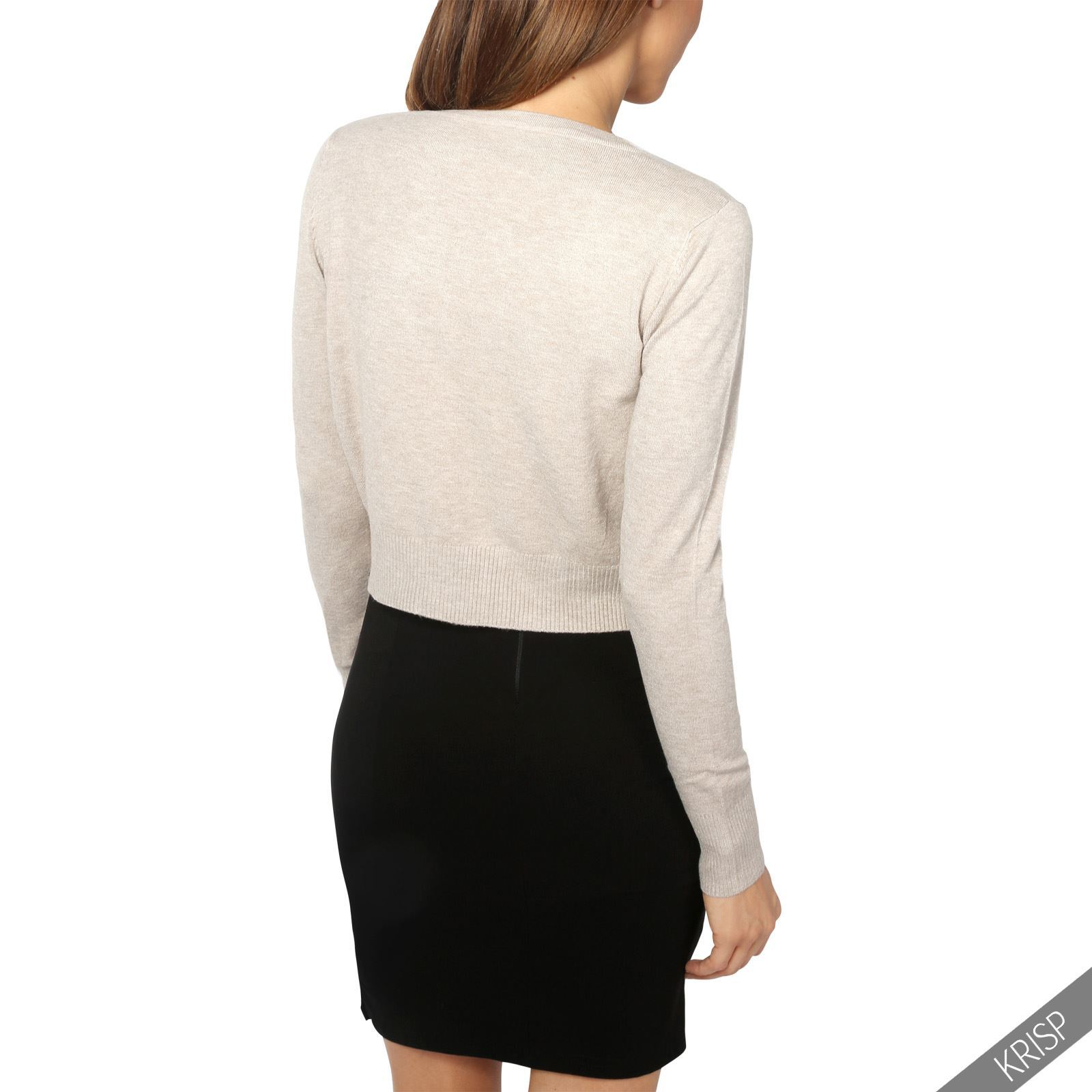 Womens-Ladies-Bolero-Shrug-Silky-Soft-Cardigan-Long-Sleeve-Knit-Short-Top-Work thumbnail 33