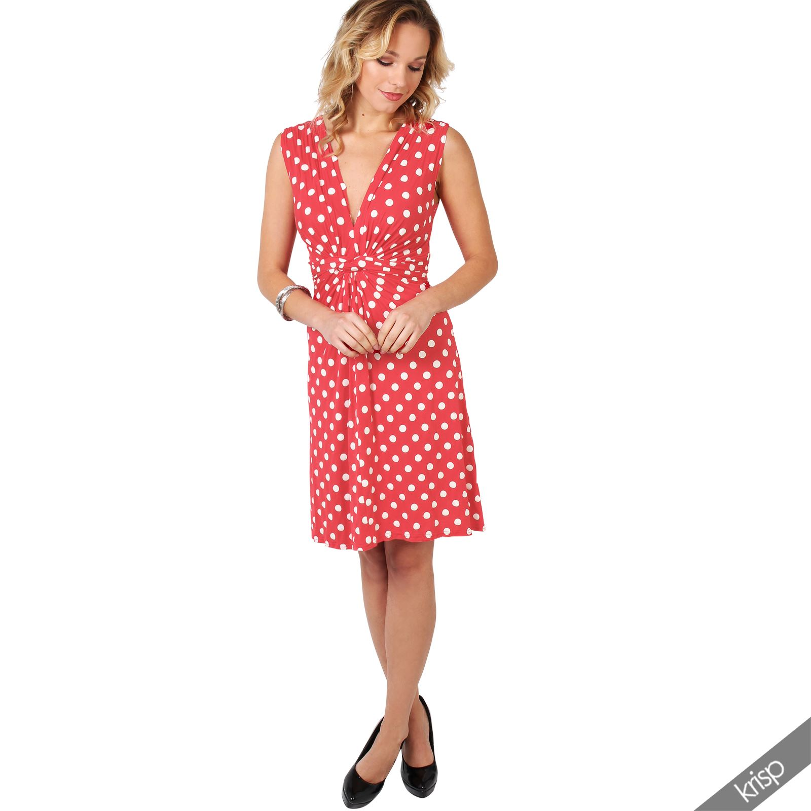 Womens-Polka-Dot-Retro-Dress-Pleated-Skirt-Wrap-Mini-V-Neck-Top-Swing-Party thumbnail 9