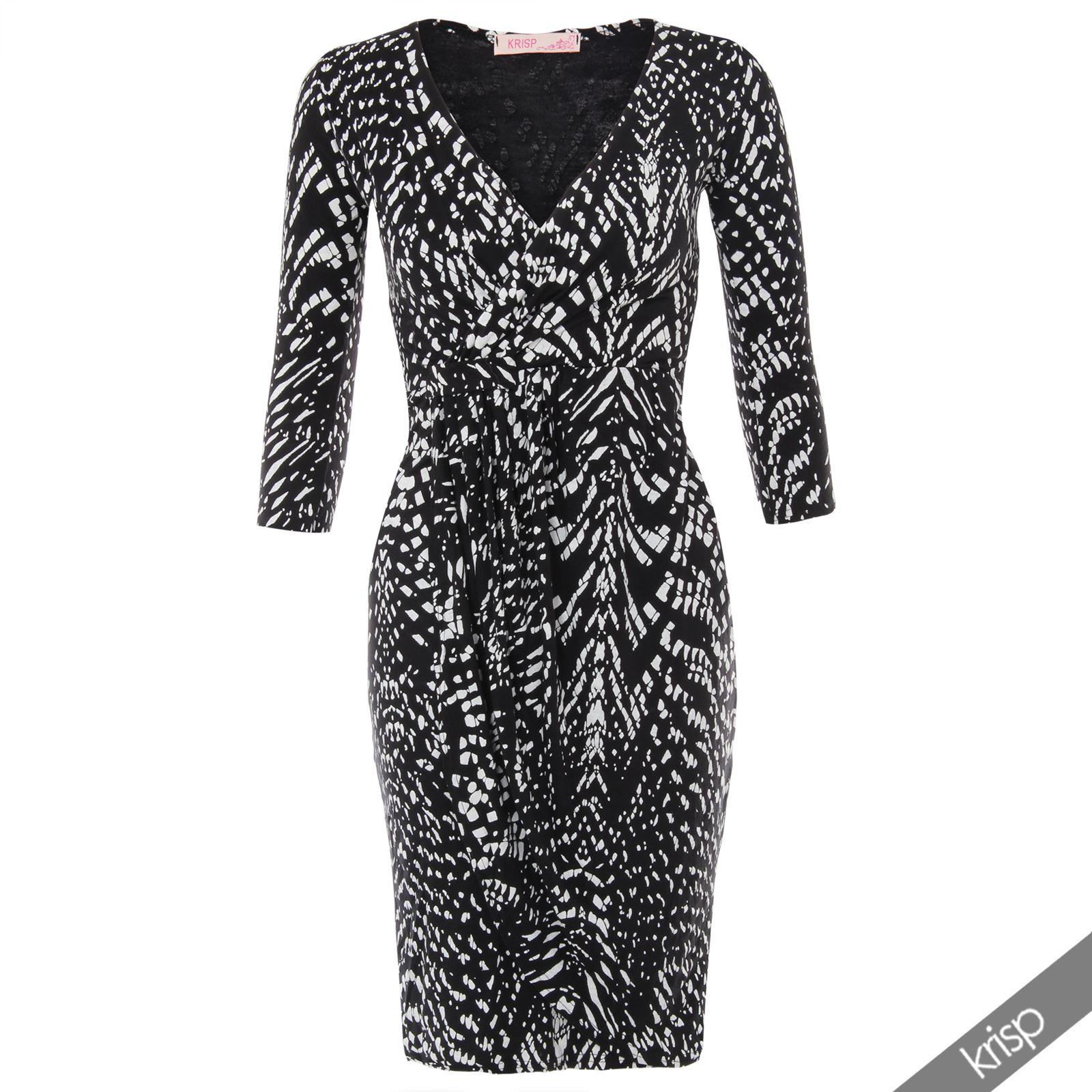 Womens-V-Neck-Dress-Top-Bodycon-Skirt-Midi-Snakeskin-Print-Cross-Over-Party-Wrap thumbnail 6